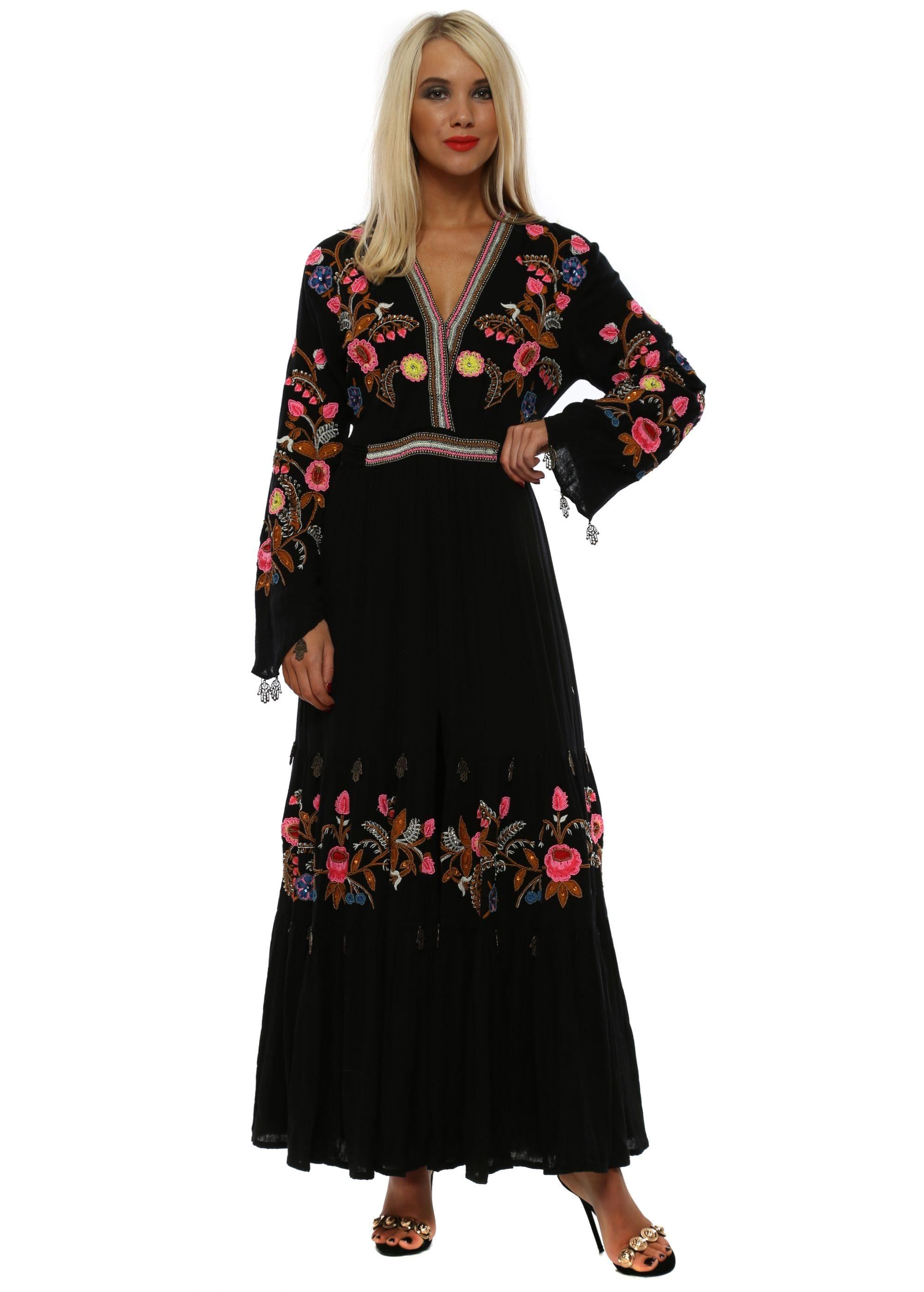 b6a6bd29b Diamond For Eden Black Hamsa Hand Boho Embellished Maxi Dress