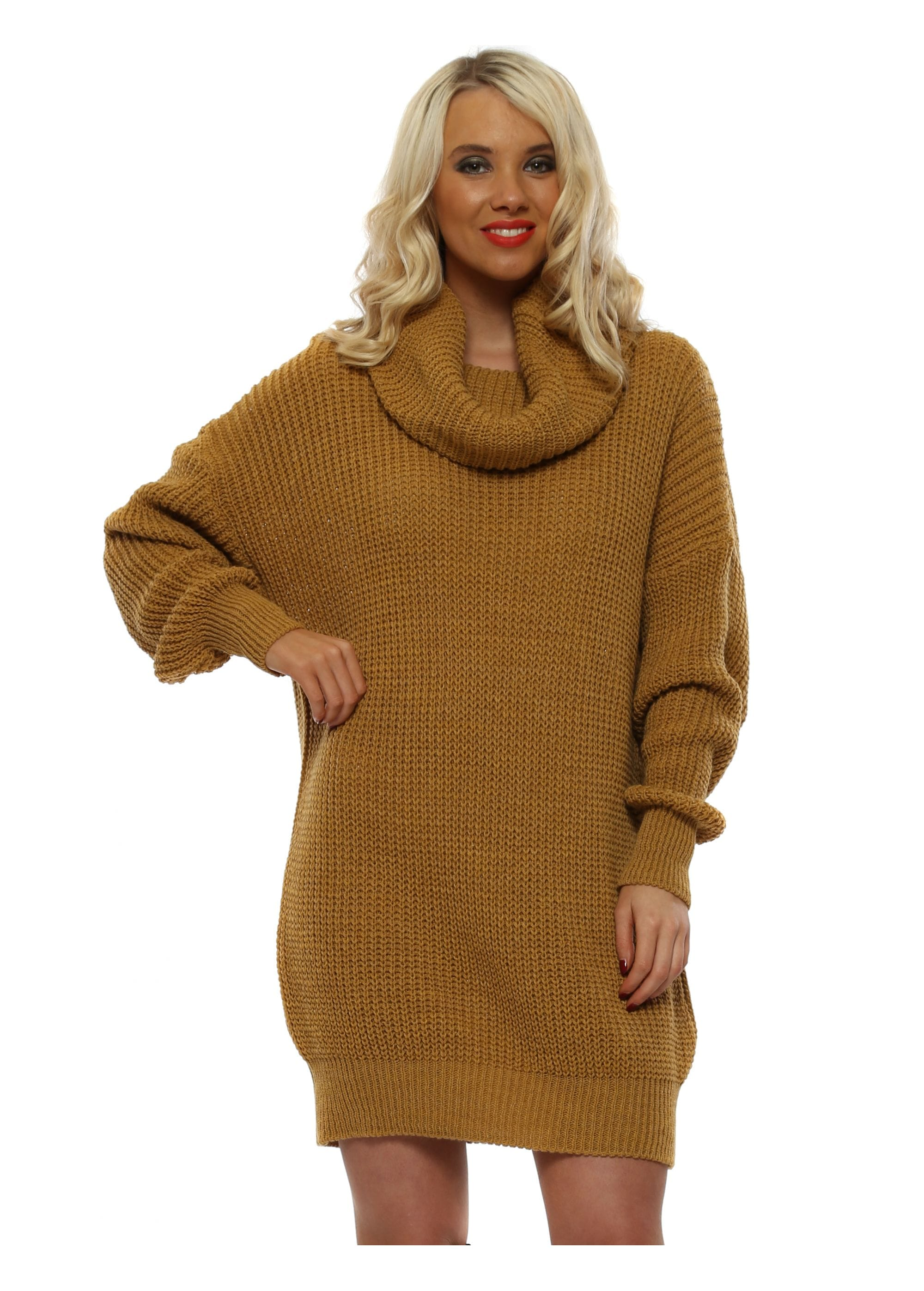 6bb50bd42ca Made In Italy Tan Oversized Cowl Neck Jumper