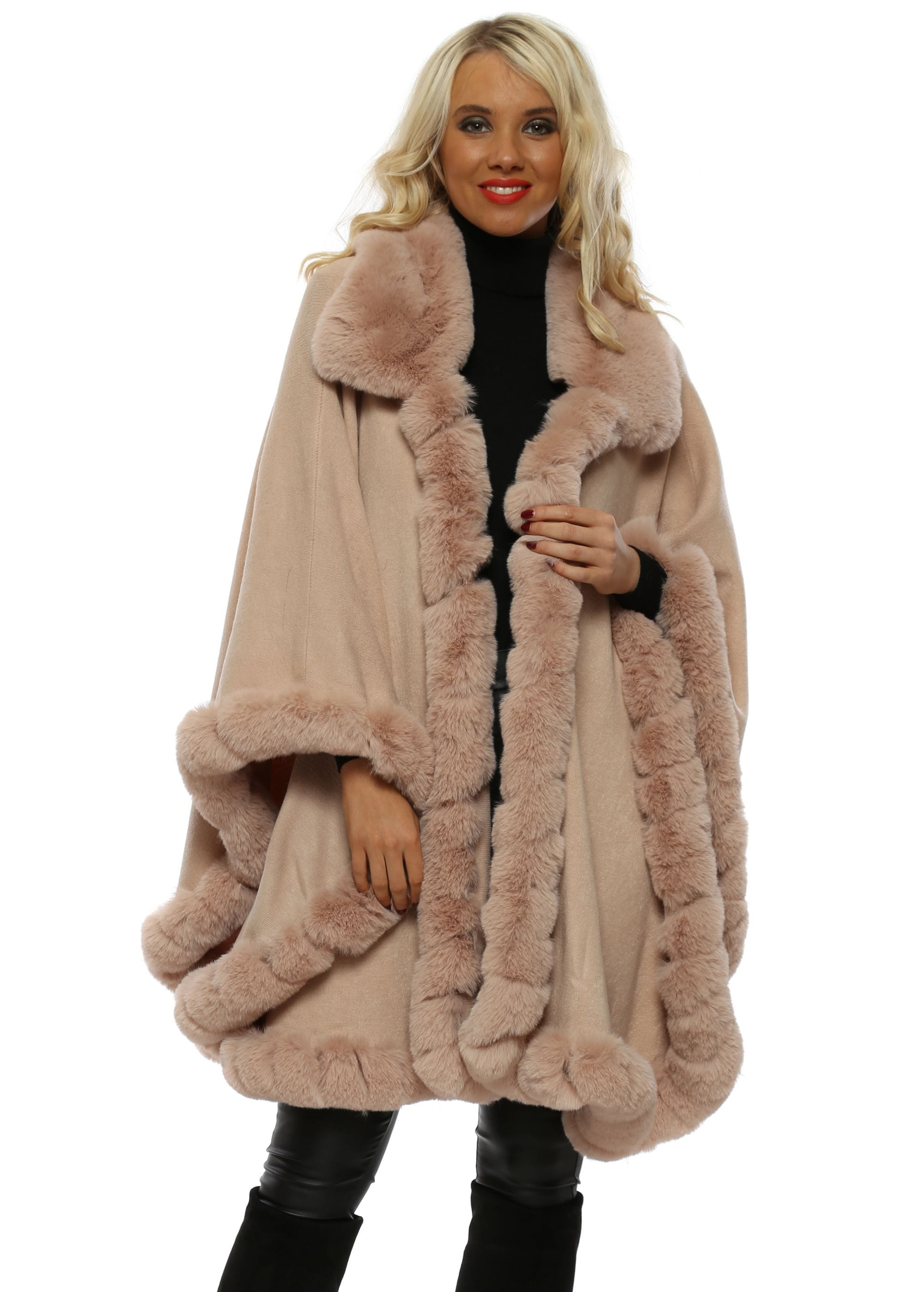 b061b9f68 Nude Knit Faux Fur Trimmed Cape