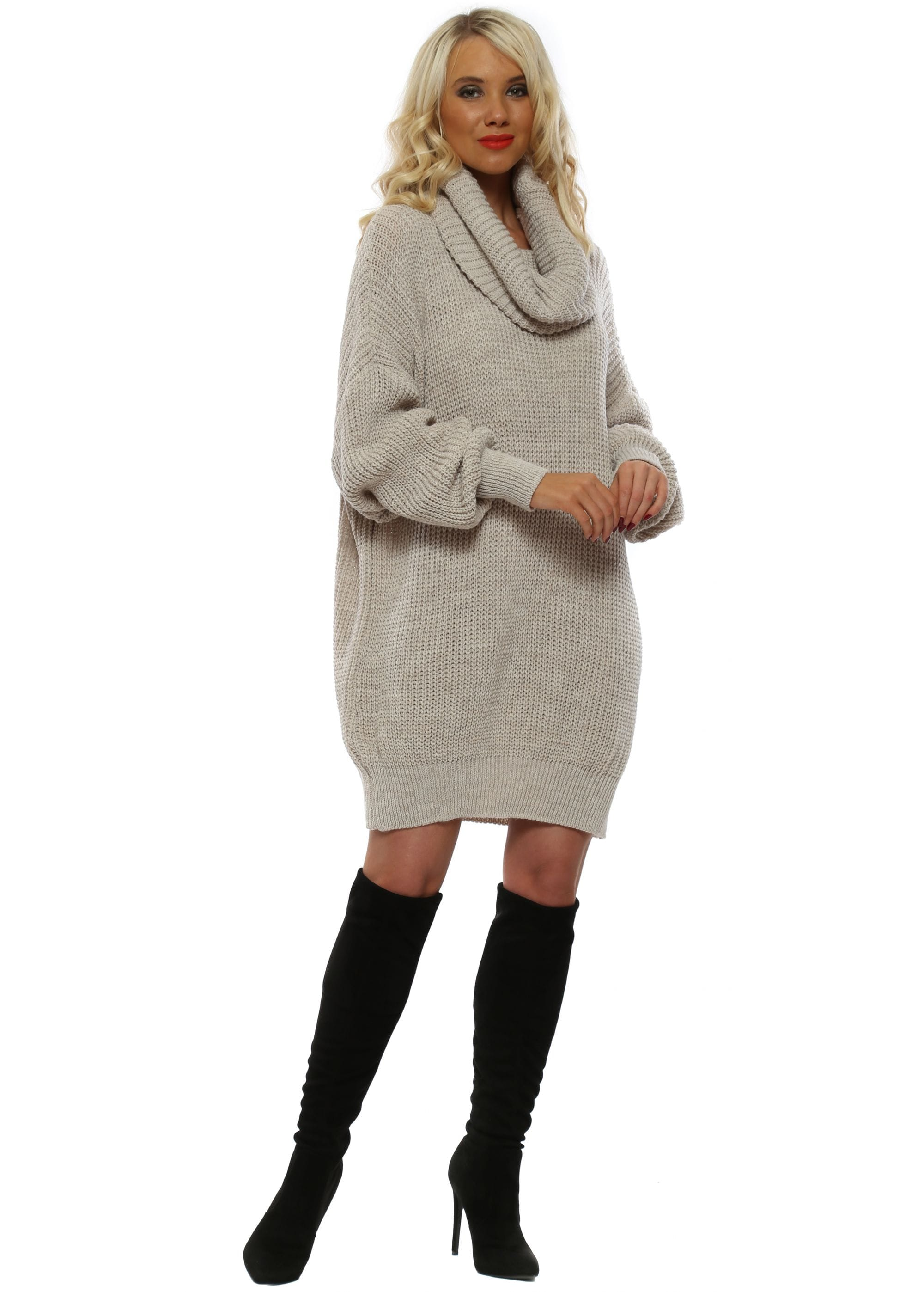db925e35fa8 Made In Italy Beige Oversized Cowl Neck Jumper Dress