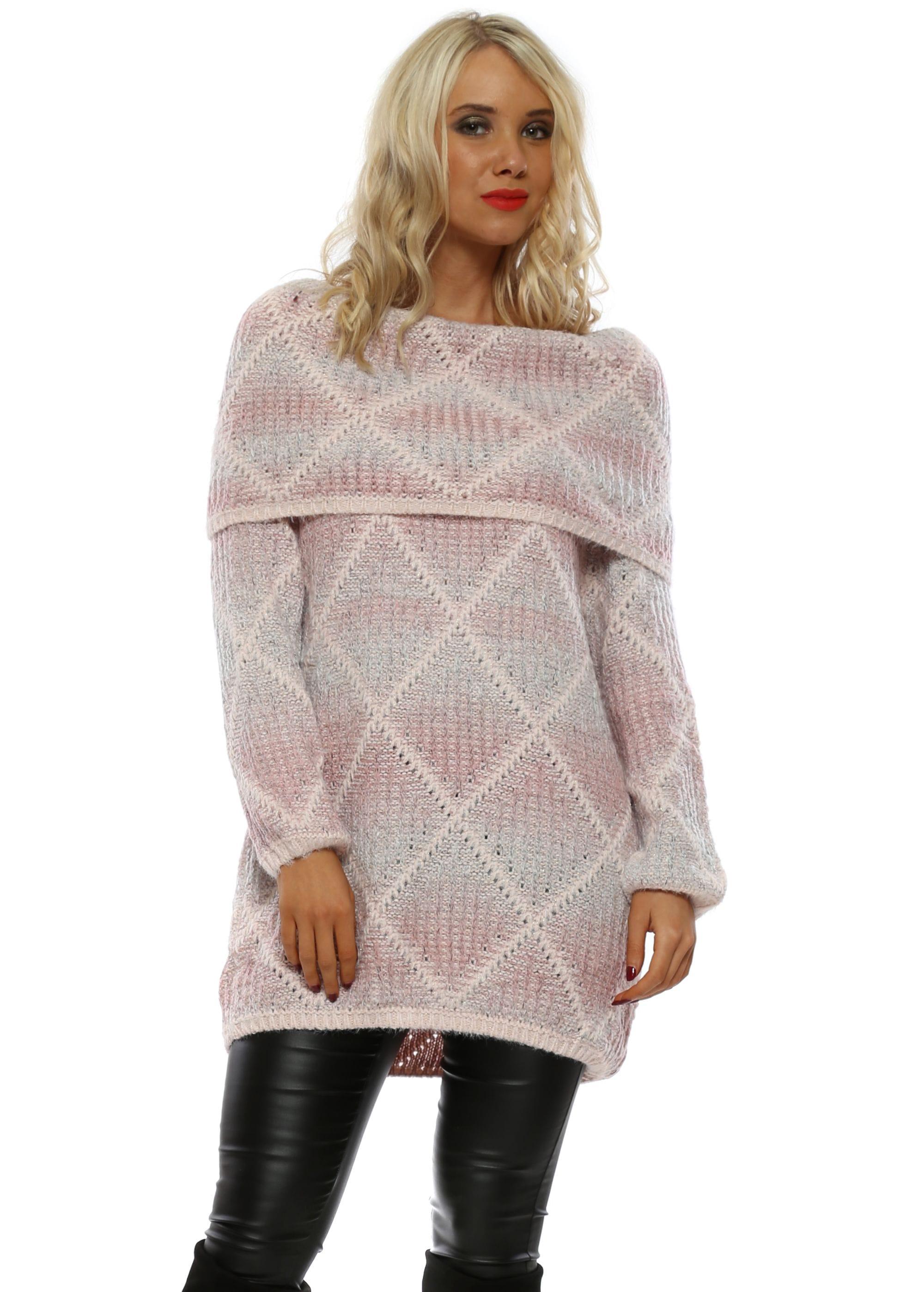 1d8fe82fd22 Pink Cross Knit Bardot Jumper