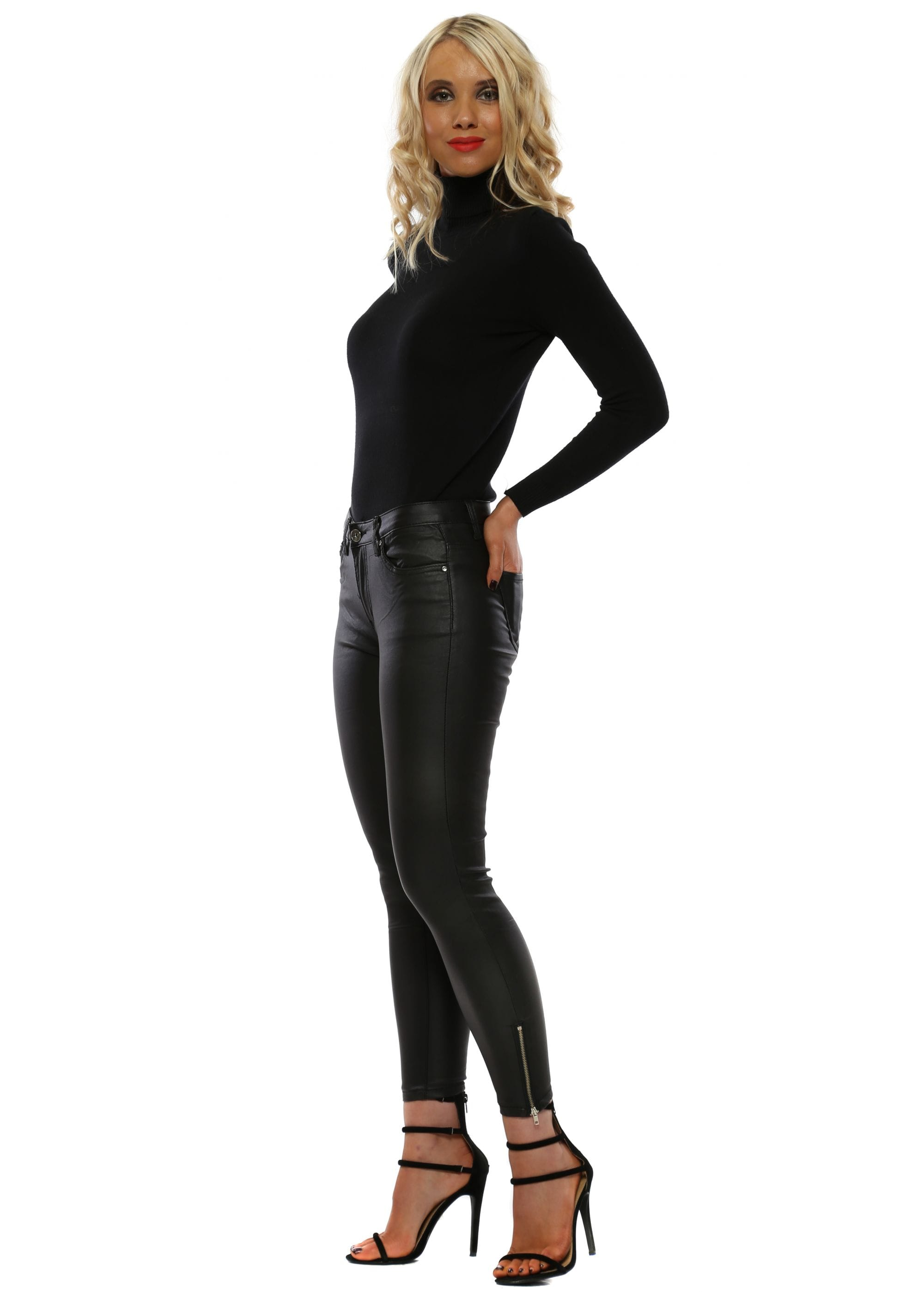 d63b70943c35c High Waisted Black Leather Jeans - Ladies Black Jeans