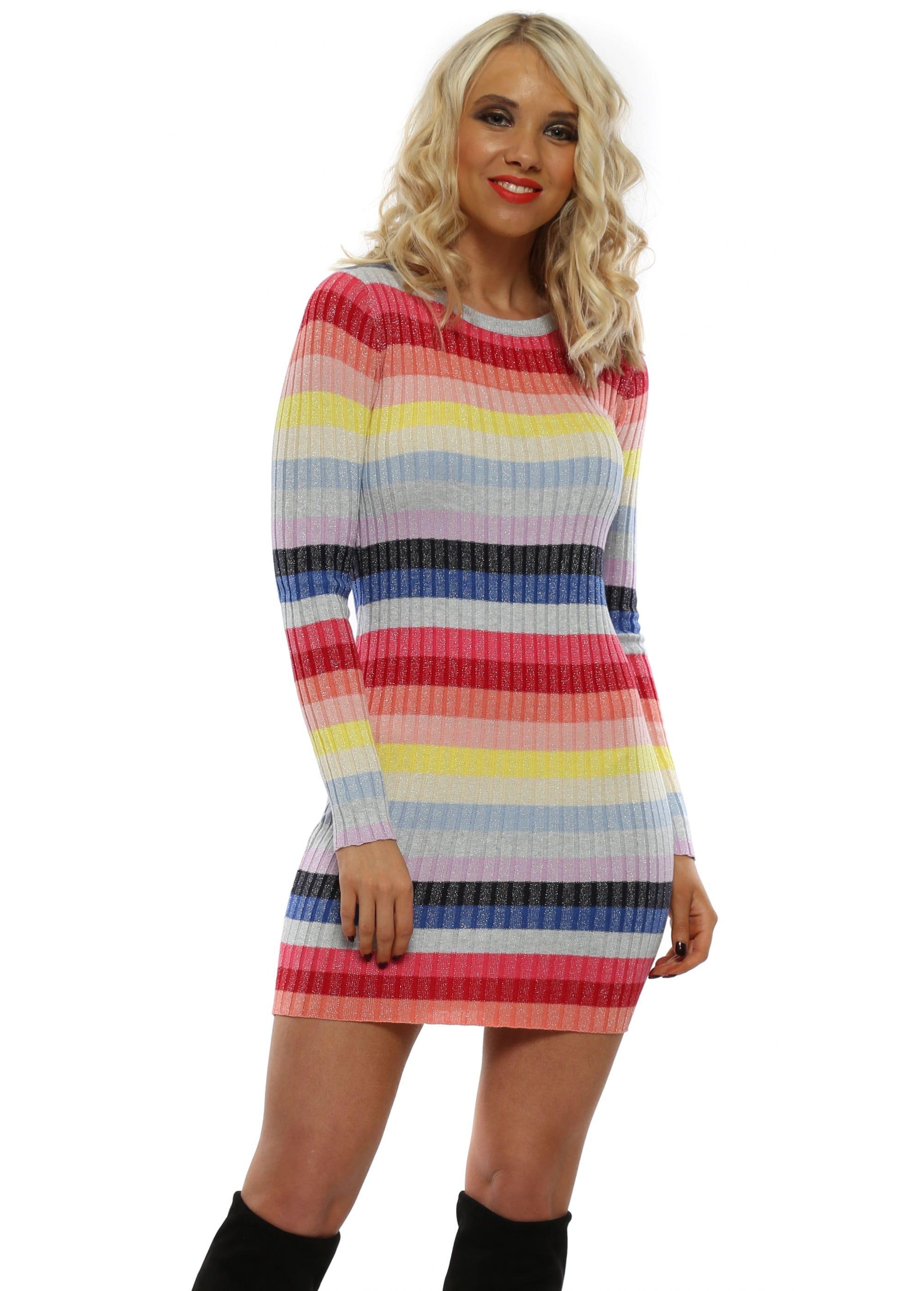 92005dd18722 Rainbow Stripe Sparkle Knit Jumper Dress