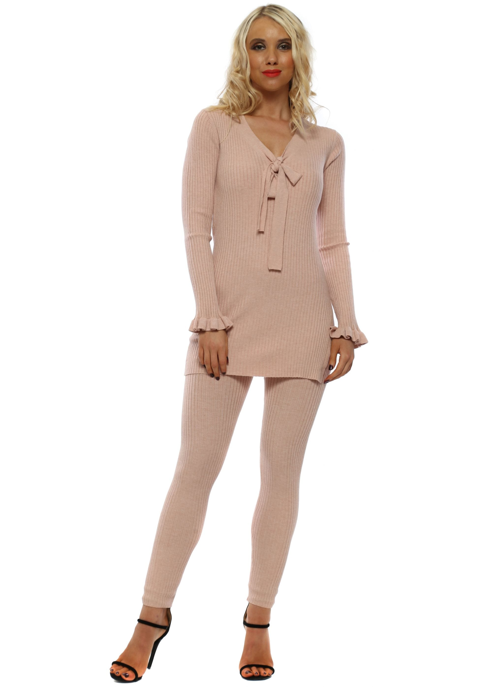 8068863948e29 Kilky Pink Soft Ribbed Top & Leggings Co-Ord Lounge Set