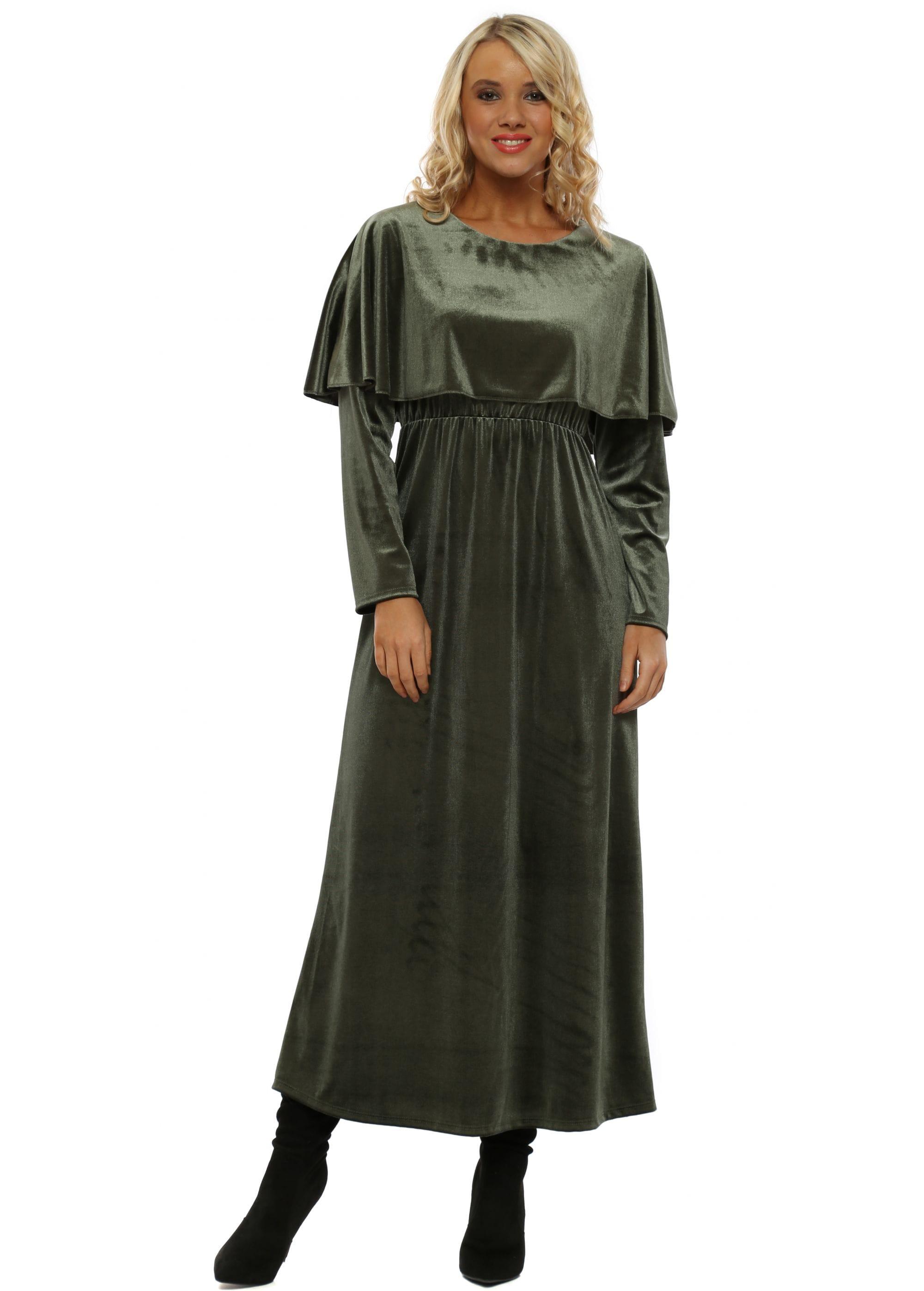 4a5902506e42 Green Velour Midaxi Dress