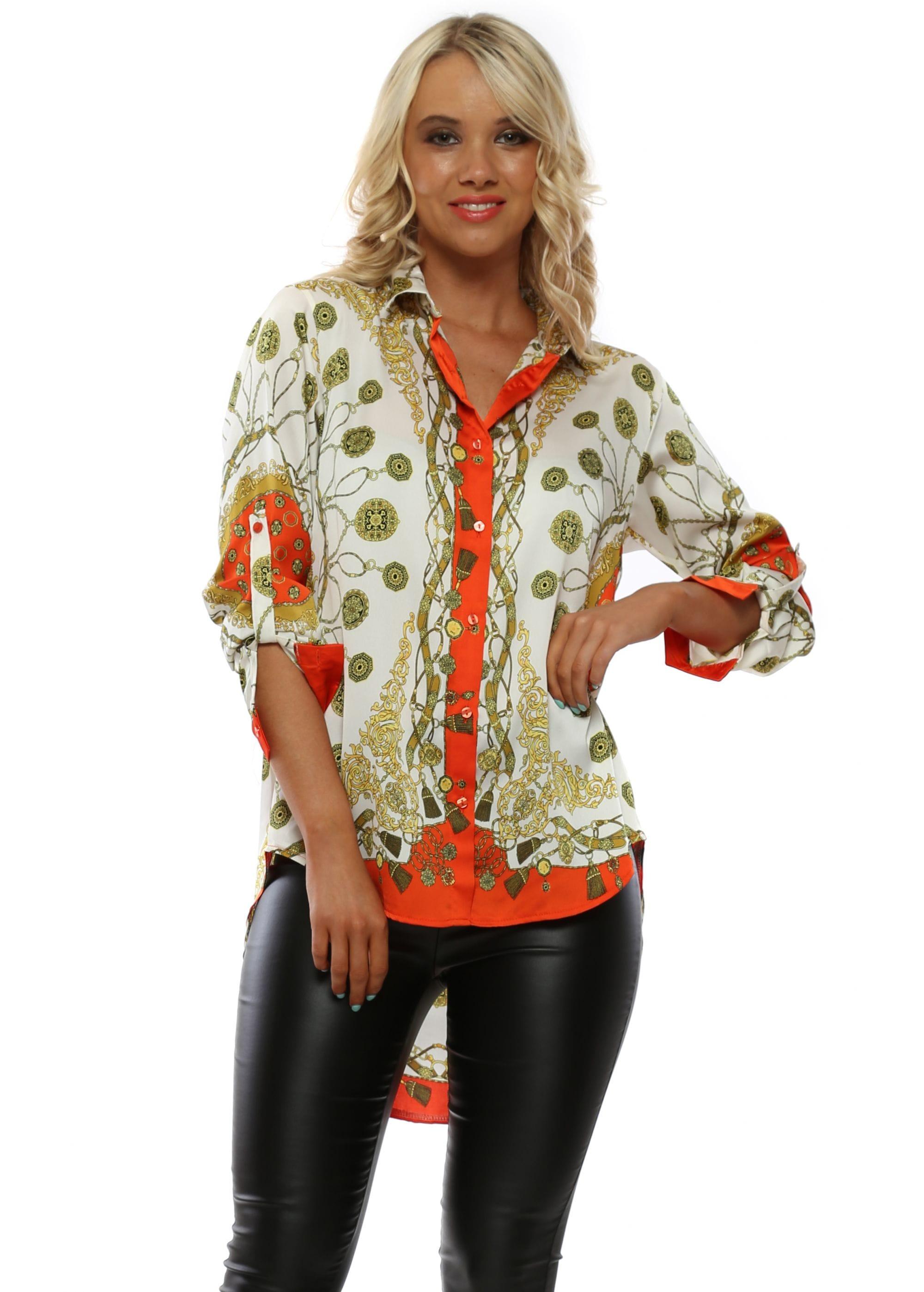 02ec5976a80 Bright Coral   Ivory Italian Print Shirt