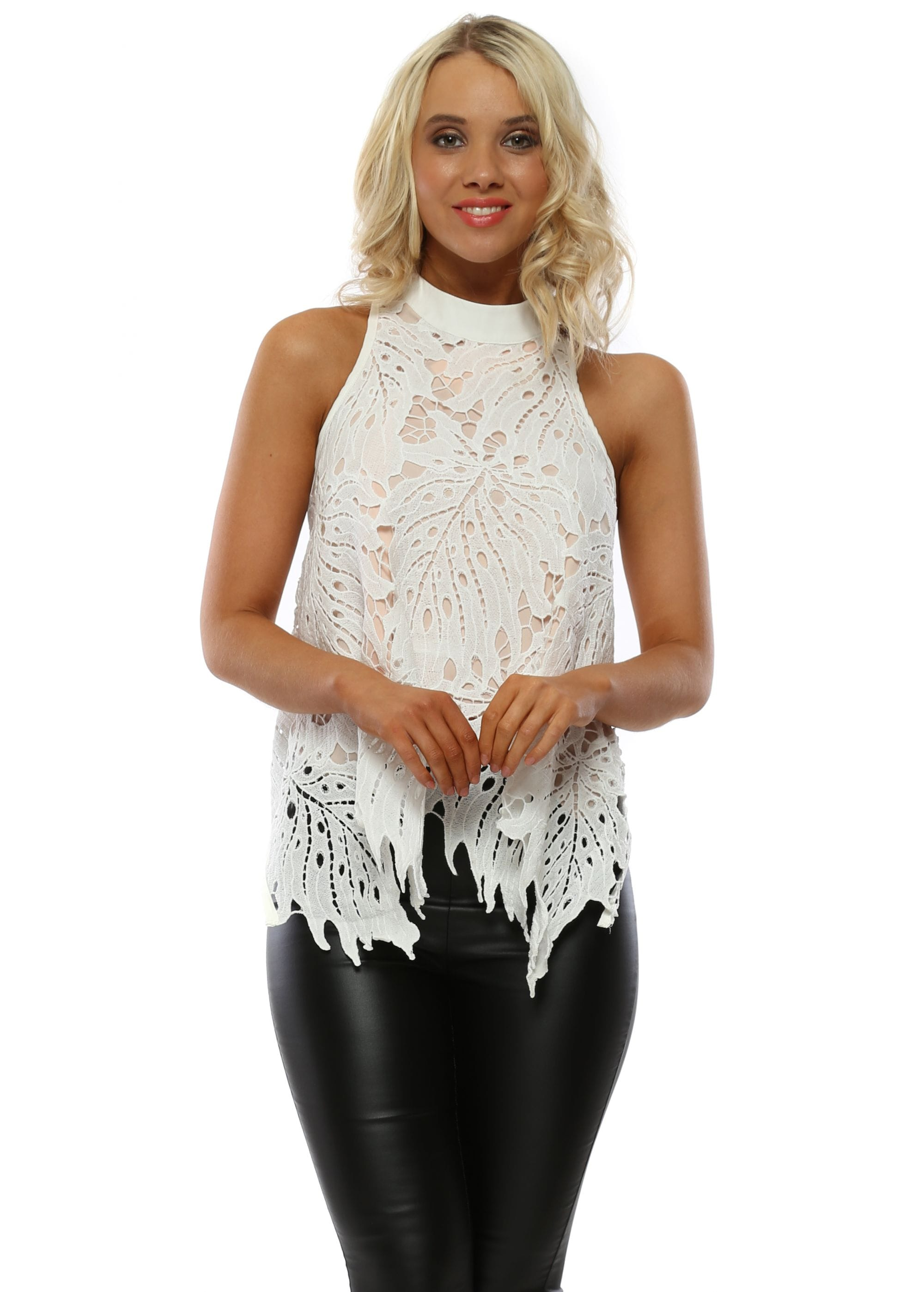 7dbfefb88 By Swan White Lace Handkerchief Halter Neck Top