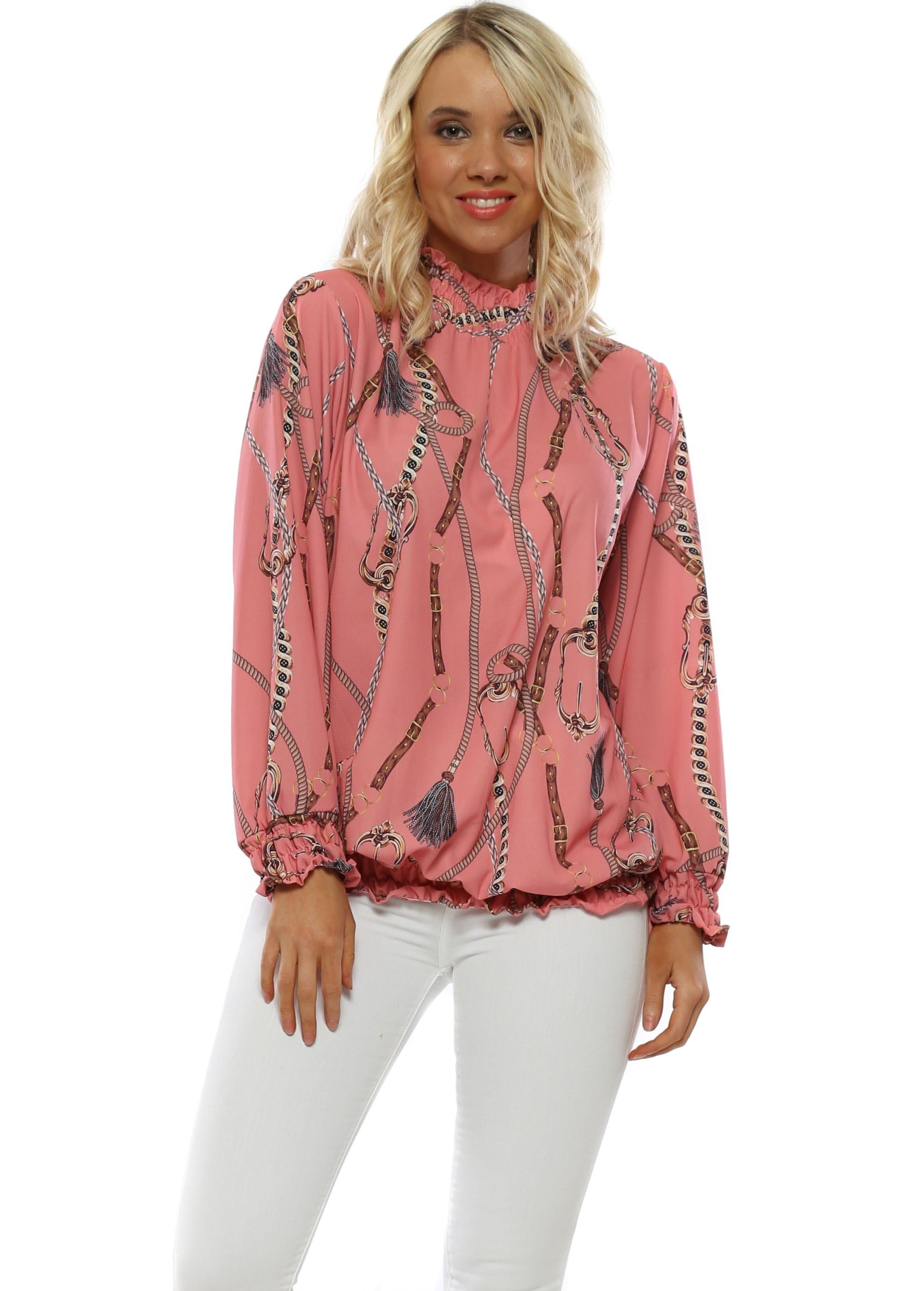 28786861804 Pink Chain Print Ruffle Neck Blouse