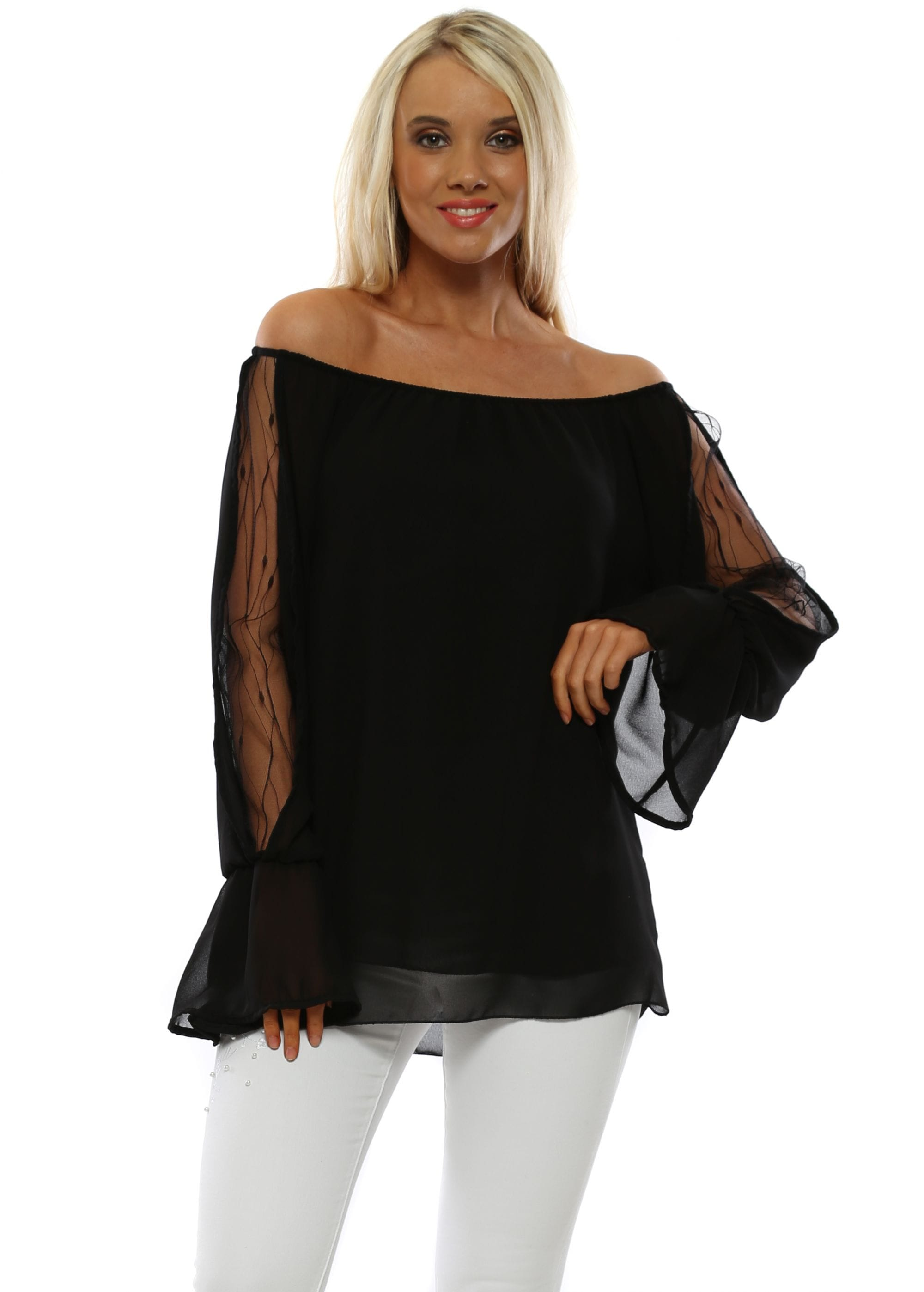374e73f0eb9cc Black Lace Sleeve Bardot Top