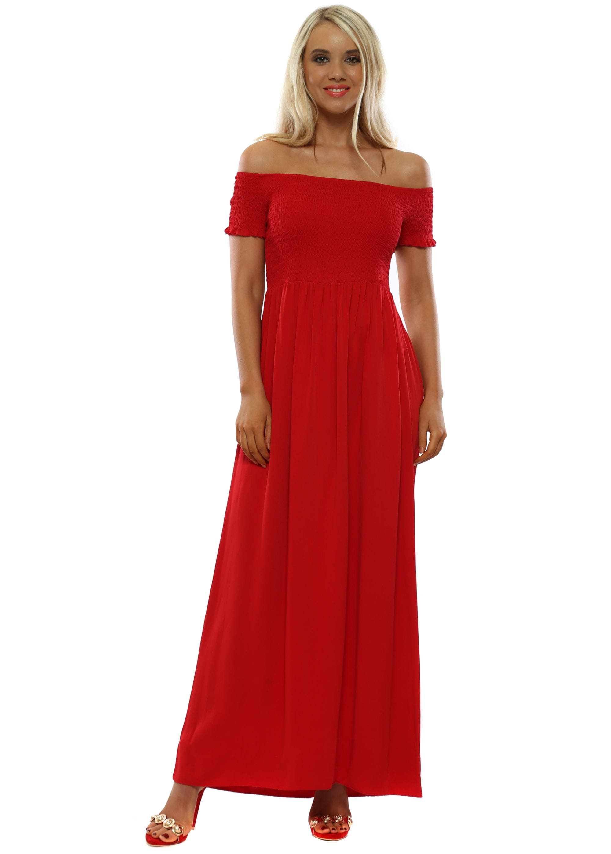 Red Off The Shoulder Maxi Dress 18addb7308
