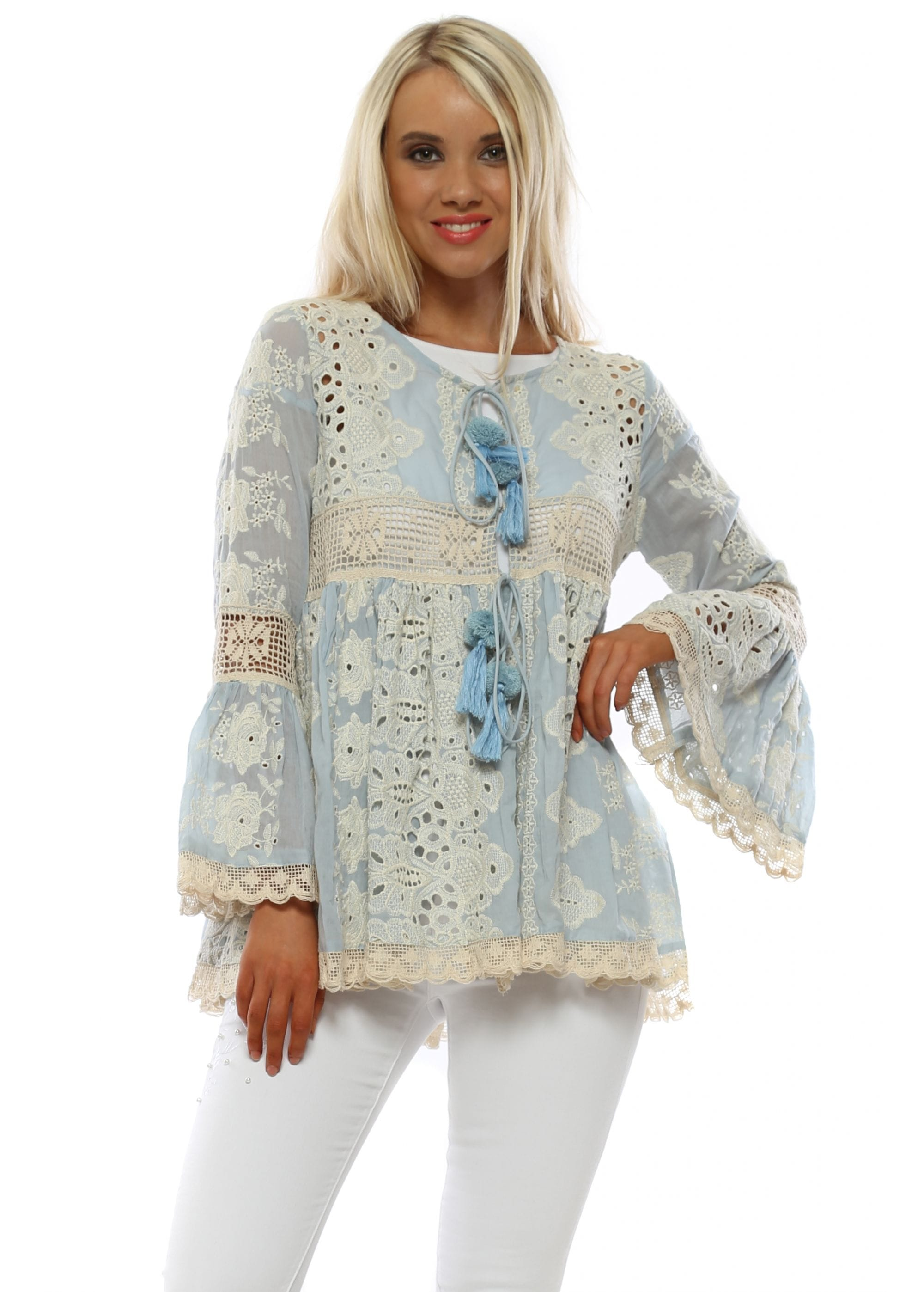 66991f78e Antica Sartoria | Blue Lace Kimono | Holiday Top | Designer Desirabes