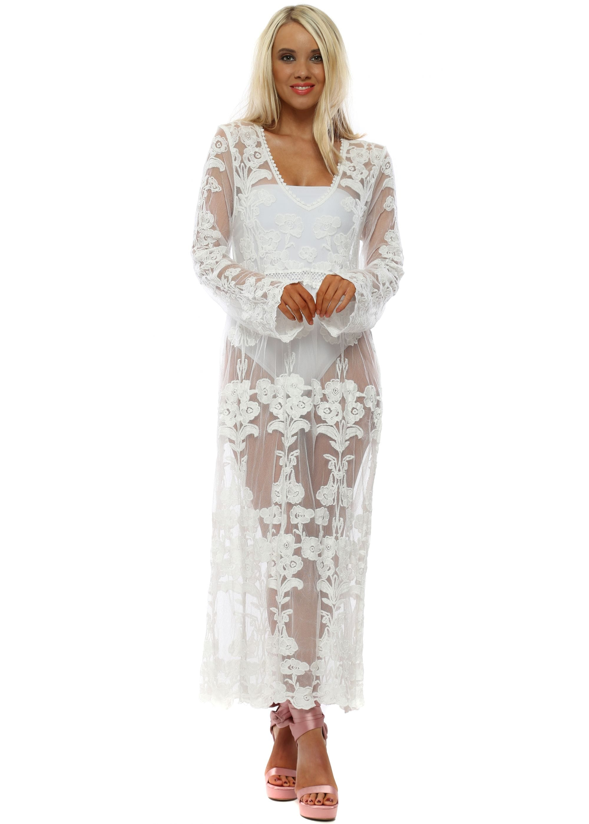 92ad2dfe0f4 Ivory Floral Embroidered Maxi Beach Dress