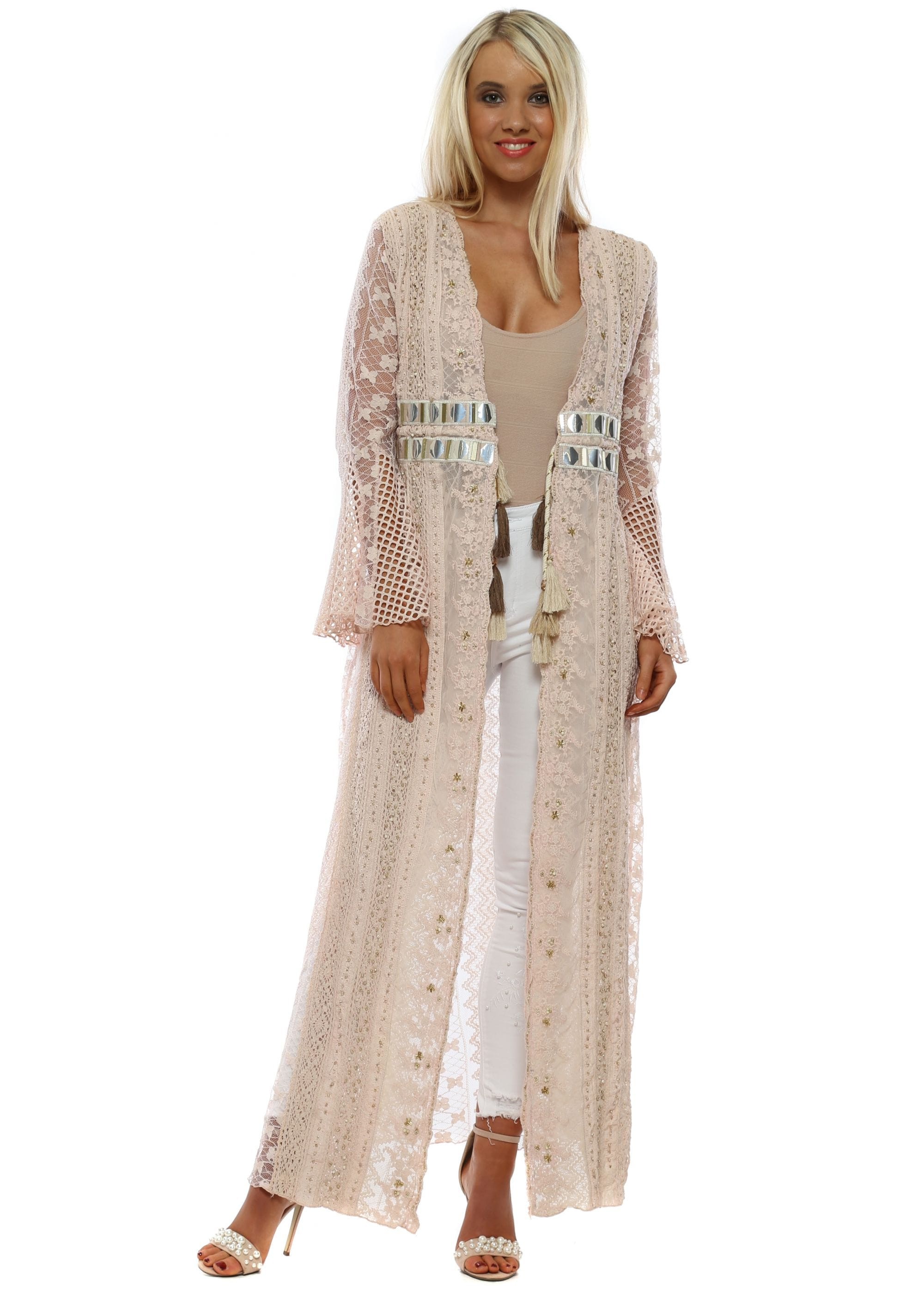 5f10400b7f Laurie & Joe | Long Kimono | Pink Lace Kimono | Designer Desirables