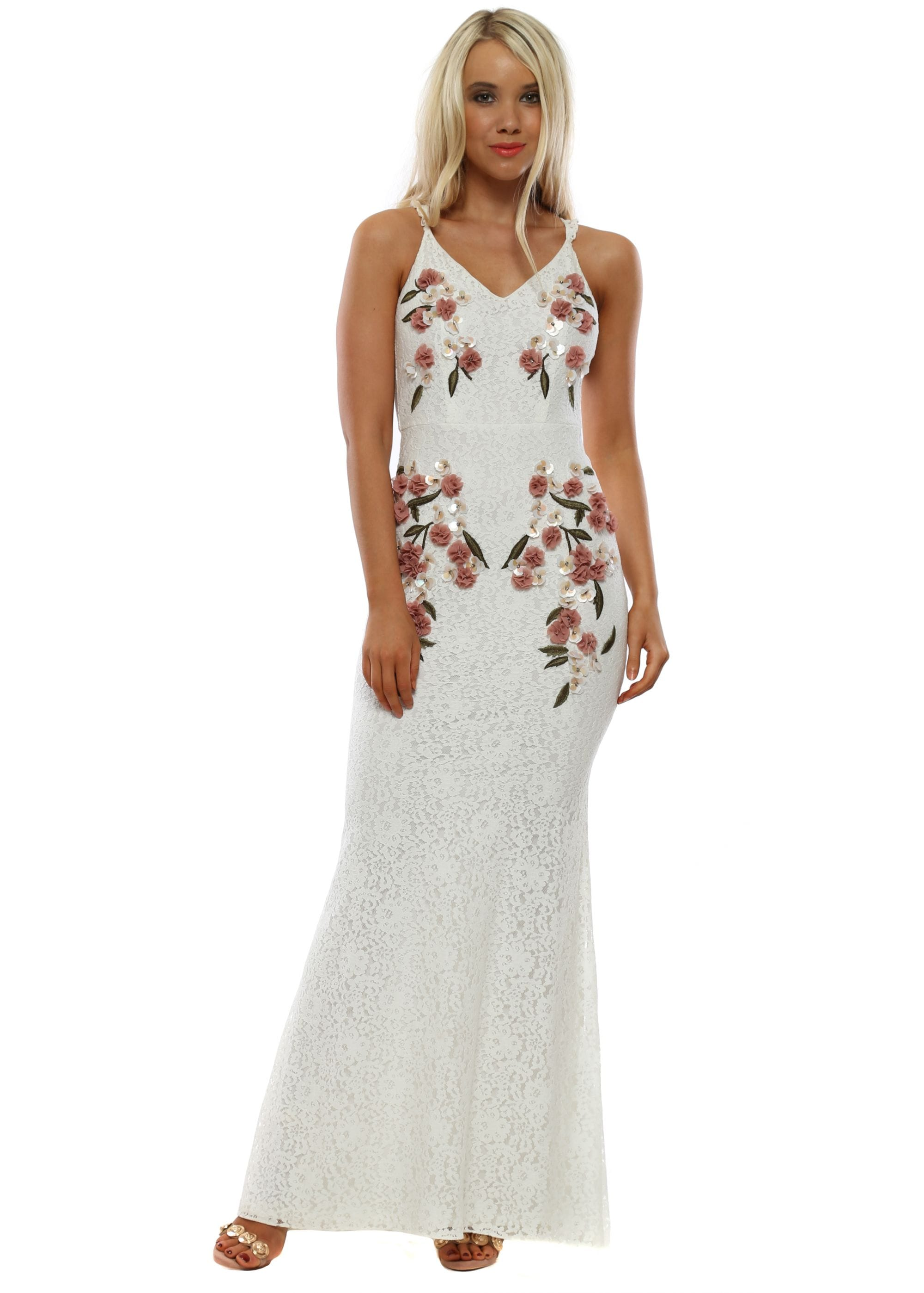 4ec6f0e68ee White Lace Cami Maxi Dress With 3D Floral Applique