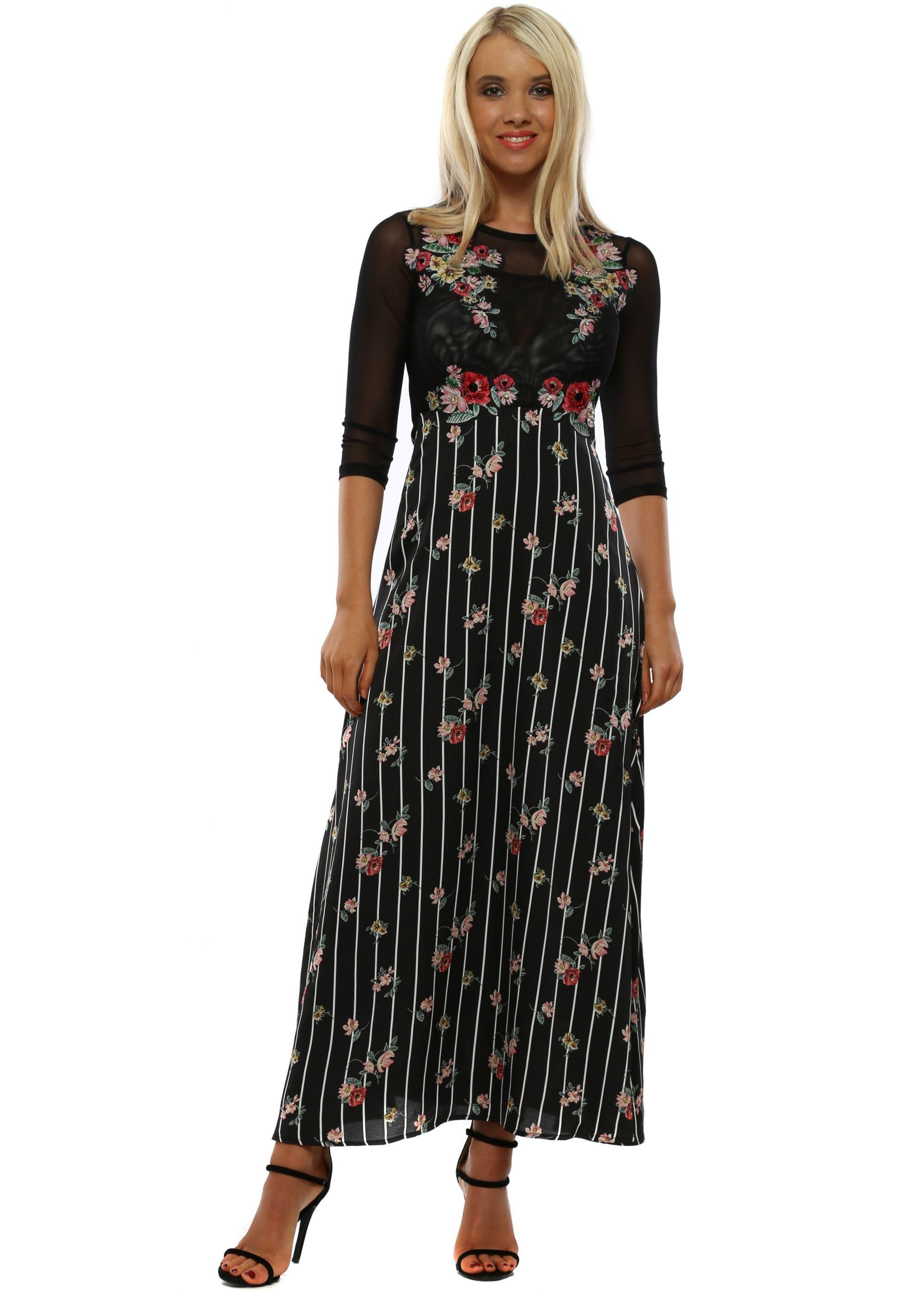 e7311d02809 Black Floral Mesh Maxi Dress