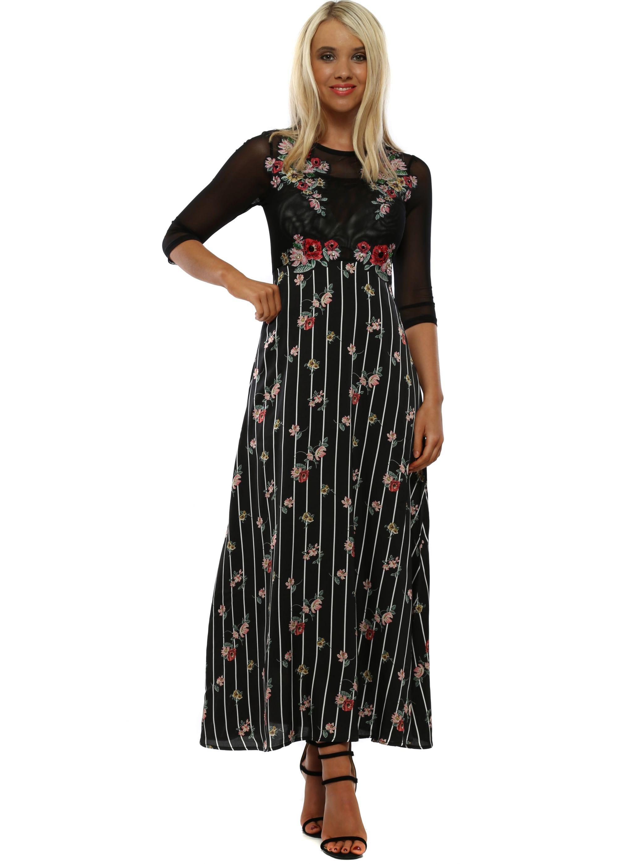 7ecd0f5b770 Black Floral Mesh Maxi Dress - Gomes Weine AG