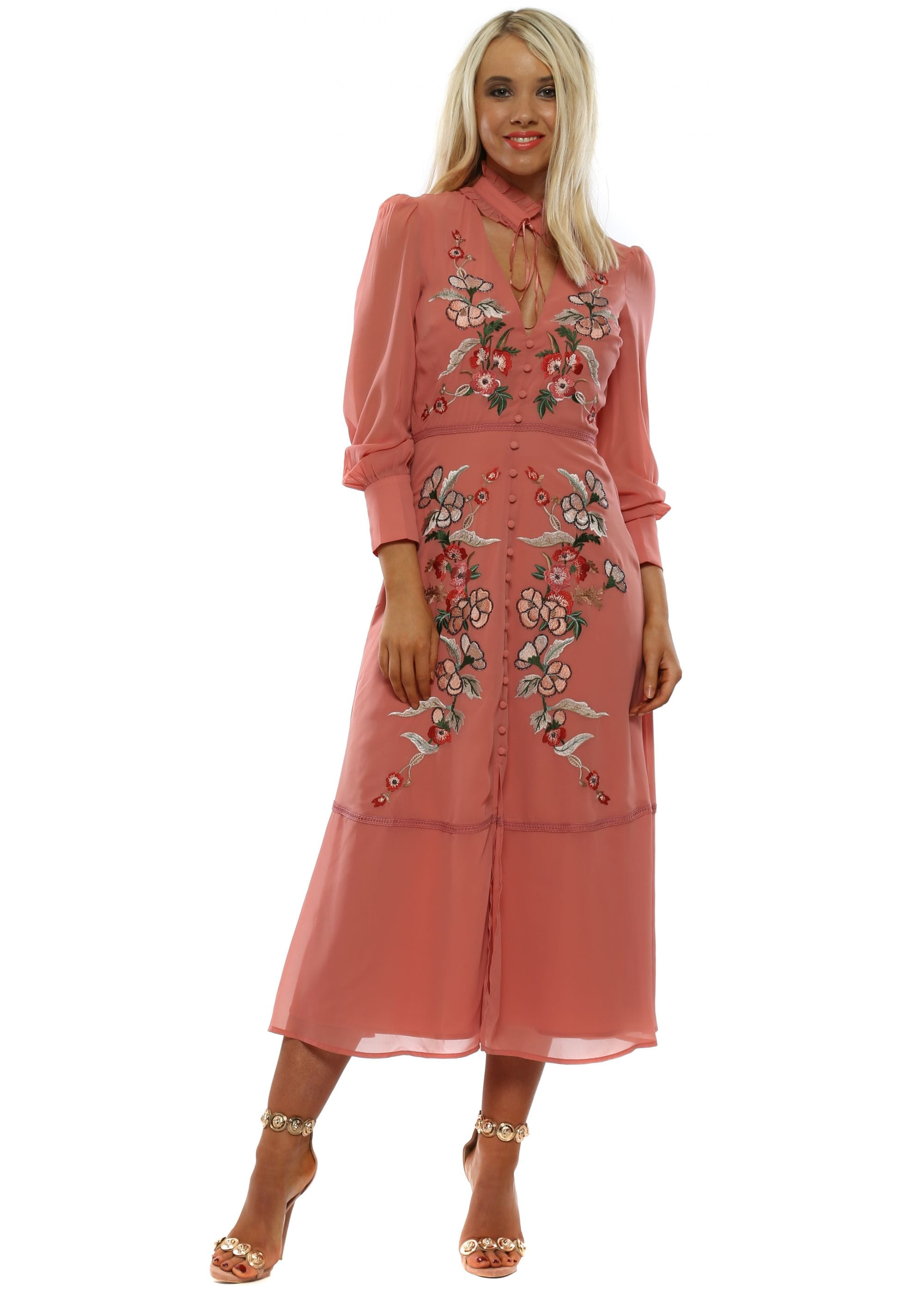 c6bdbdf5c0de Coral Embroidered Long Sleeve Midi Dress