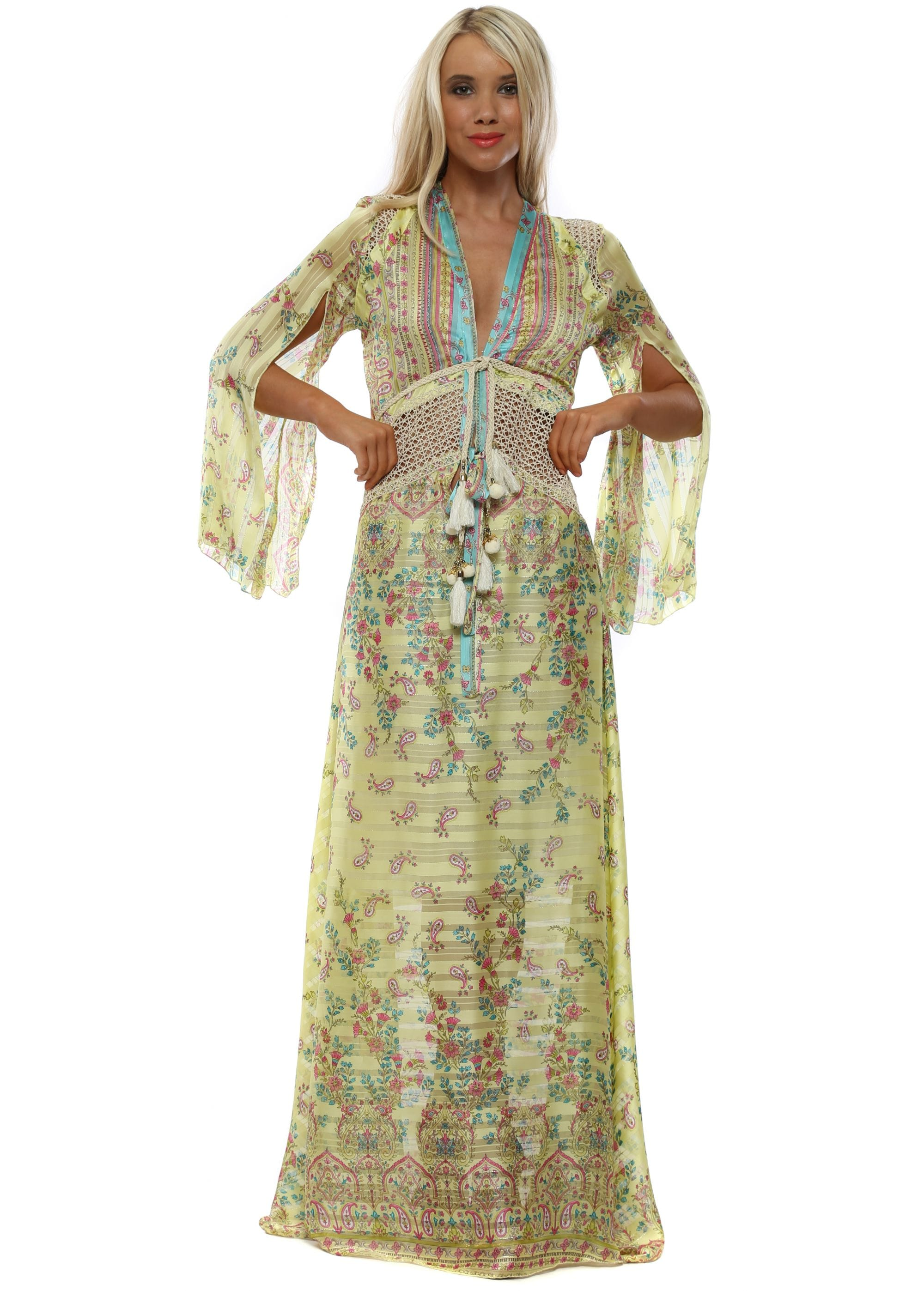 cabece42dc3 Yellow Floral Long Sleeve Maxi Dress
