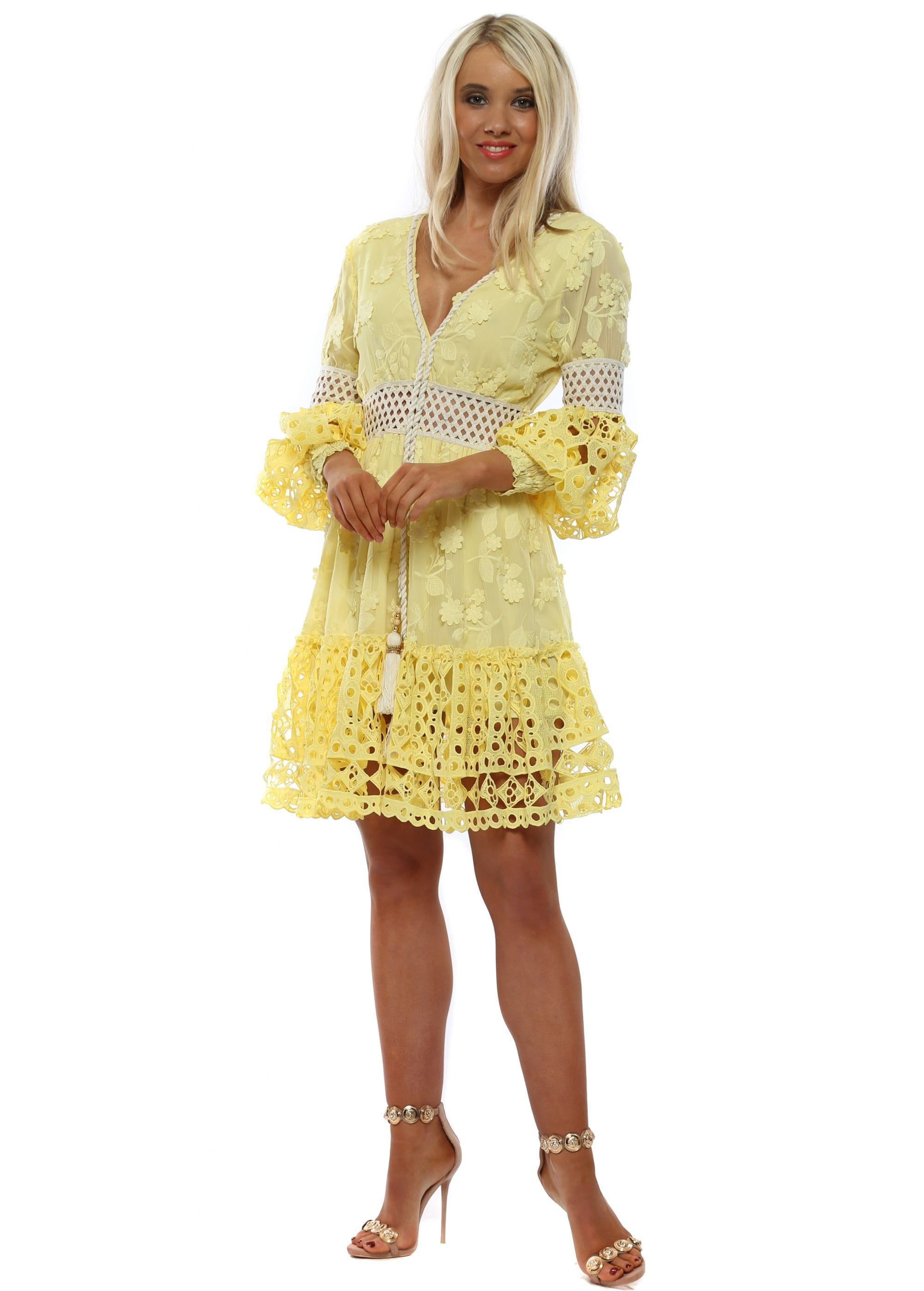 74f403b6c2e3 Yellow Floral Crochet Lace Midi Dress