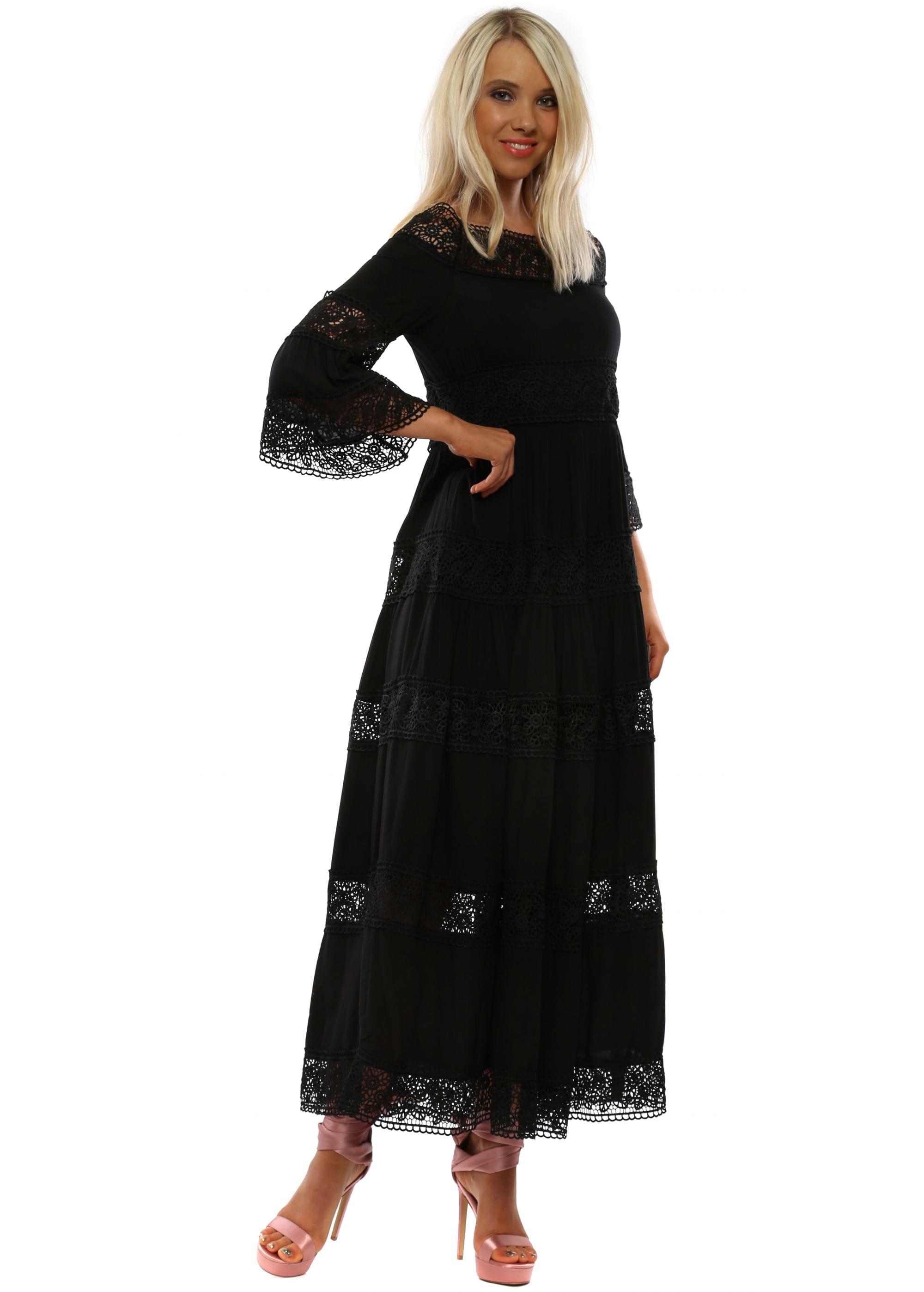 20a2dc1c534 Black Bardot Lace Insert Maxi Dress