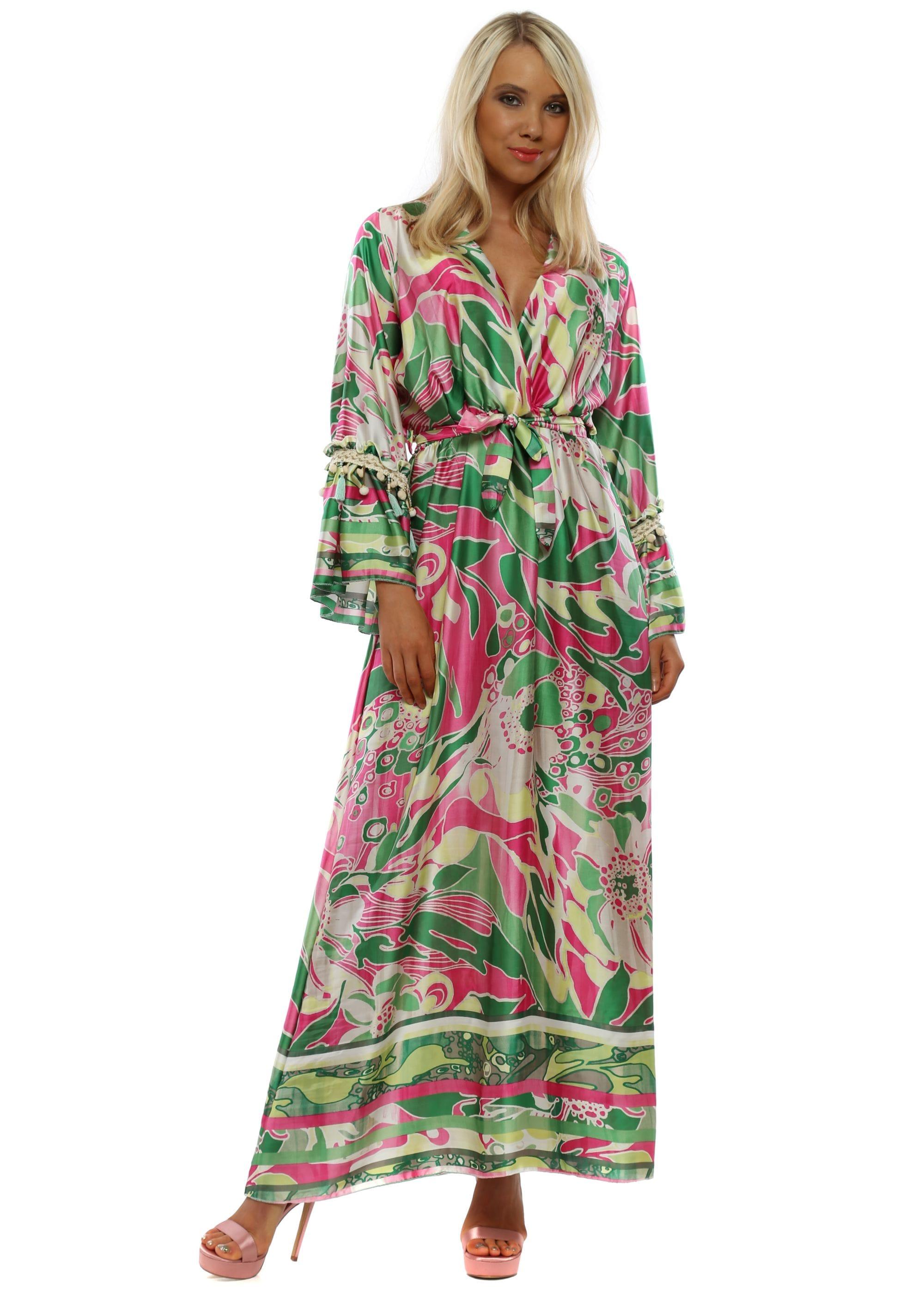 ea5db6f8cac Green  amp  Pink Long Sleeve Maxi Dress