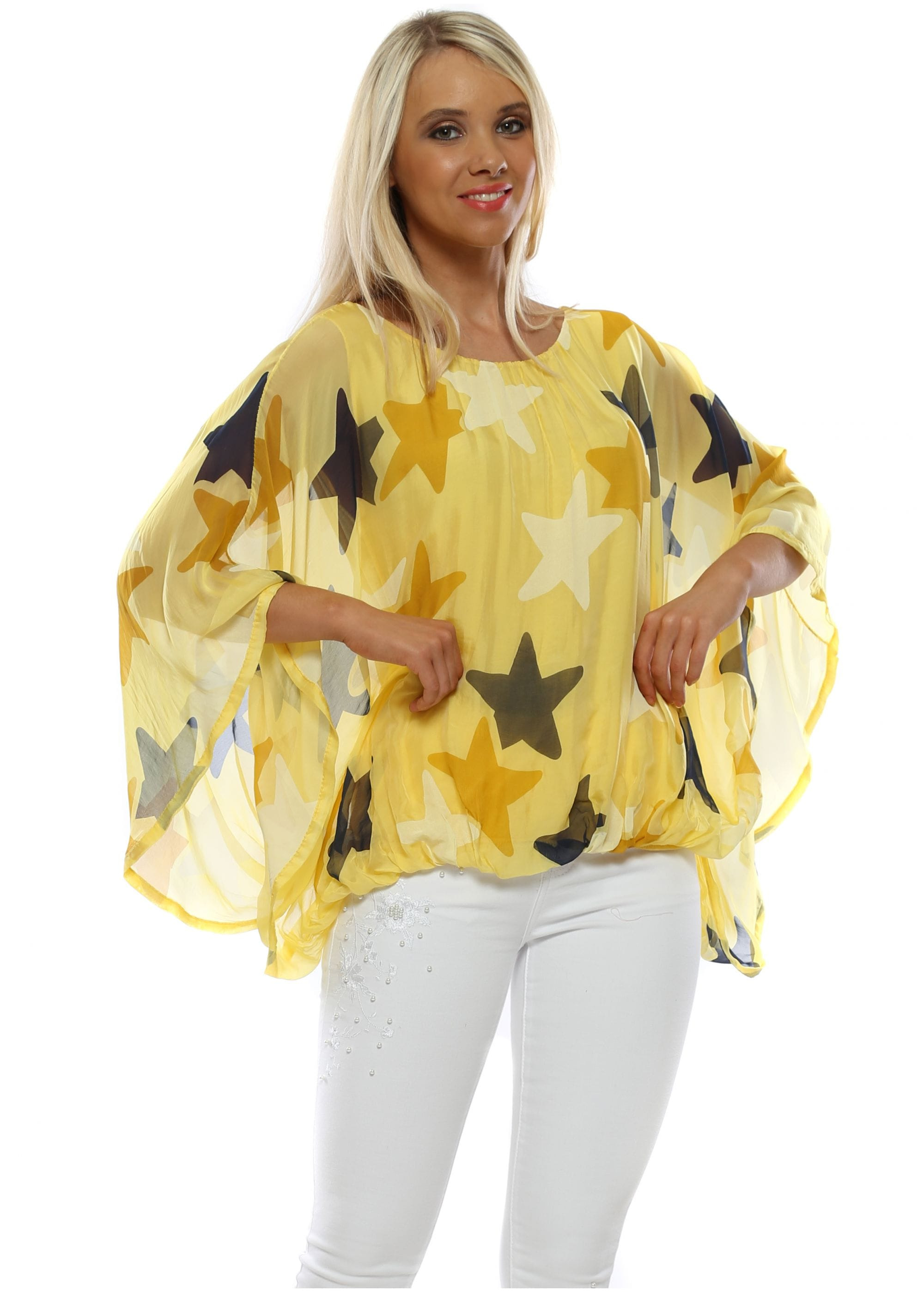 efba8557be7932 Yellow Star Print Silk Batwing Top