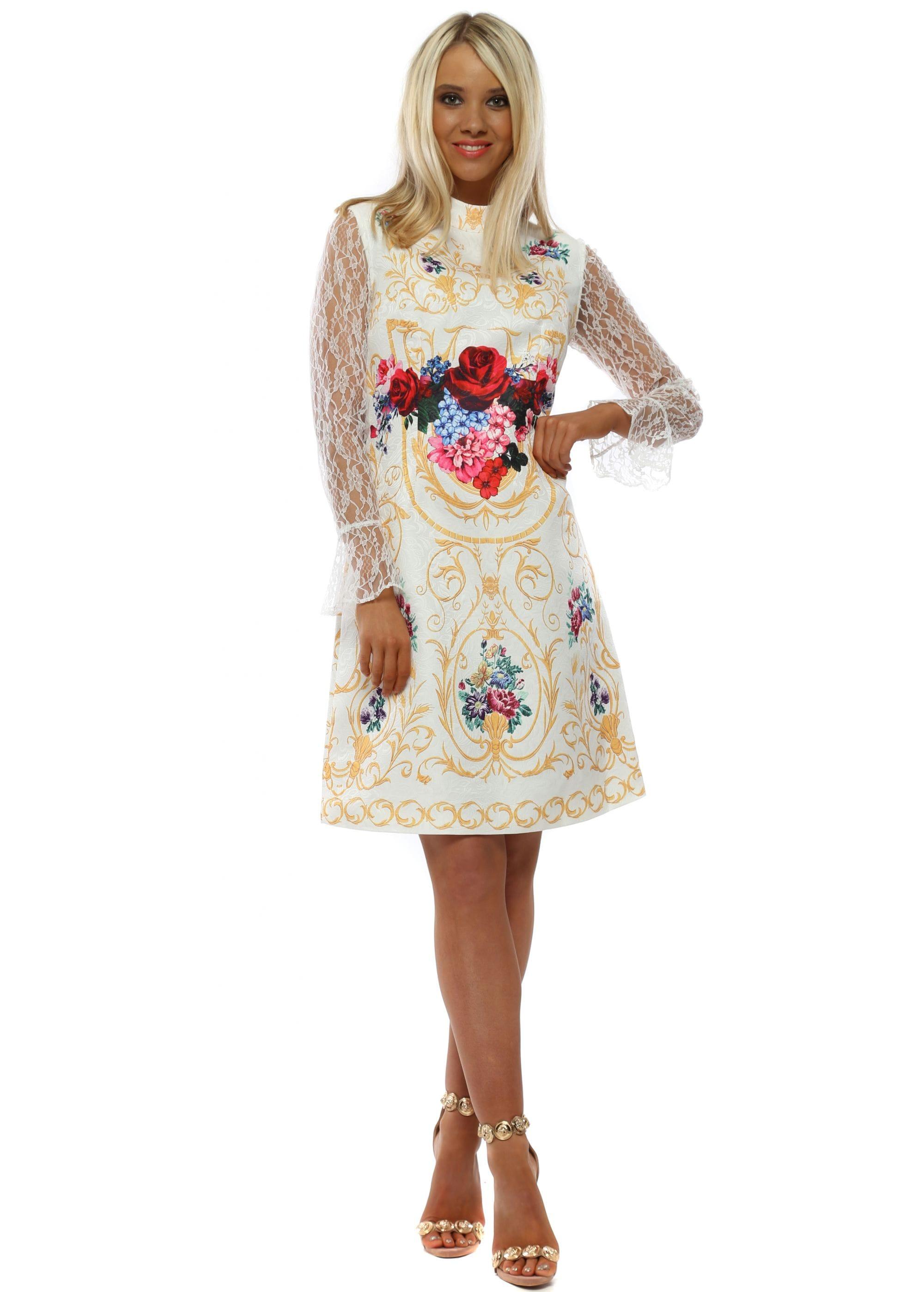 59b82666002 White Lumiere Lace Sleeve Mini Dress