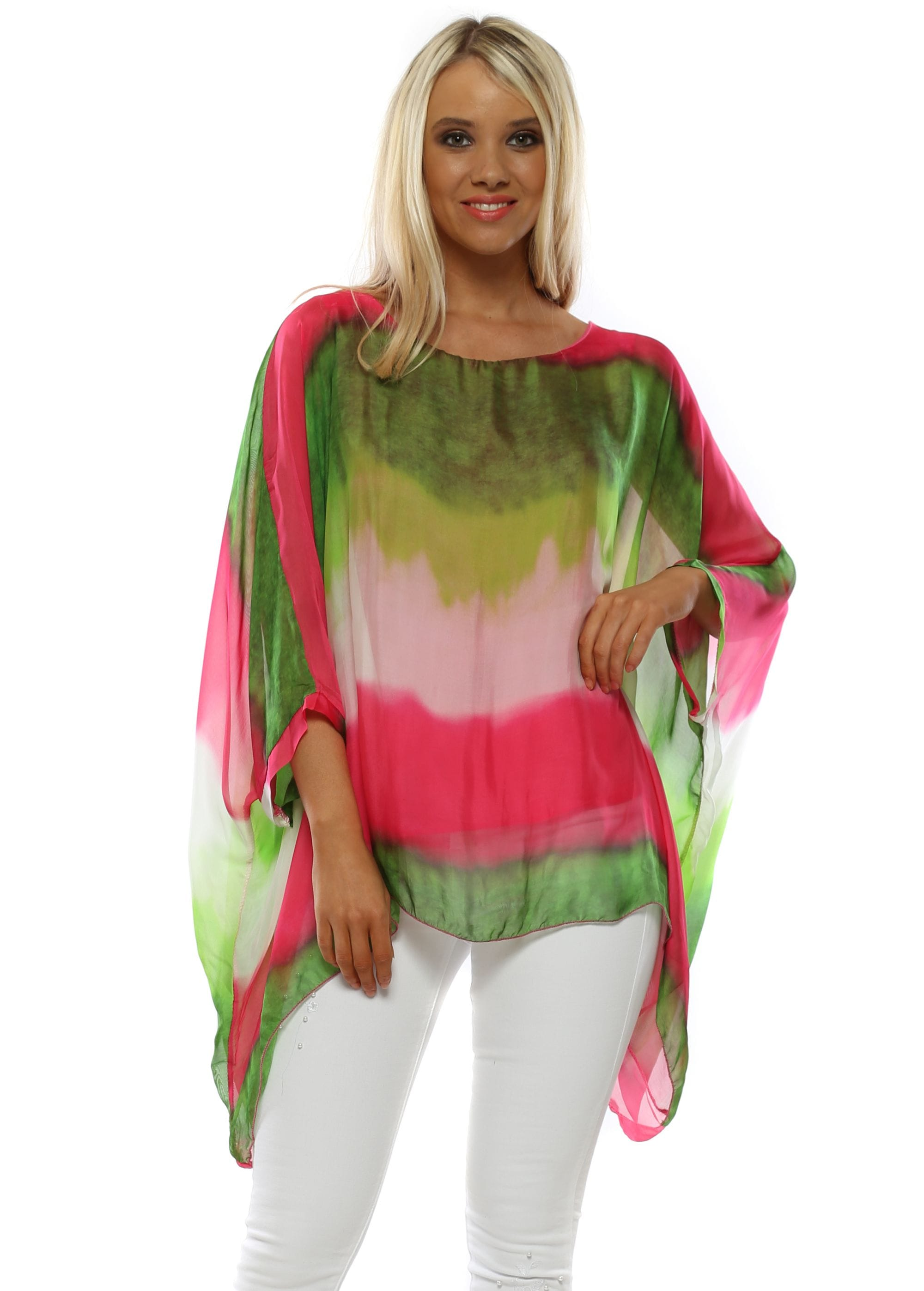 aadb50bbe4e3f Green  amp  Pink Ombre Silk Batwing Top