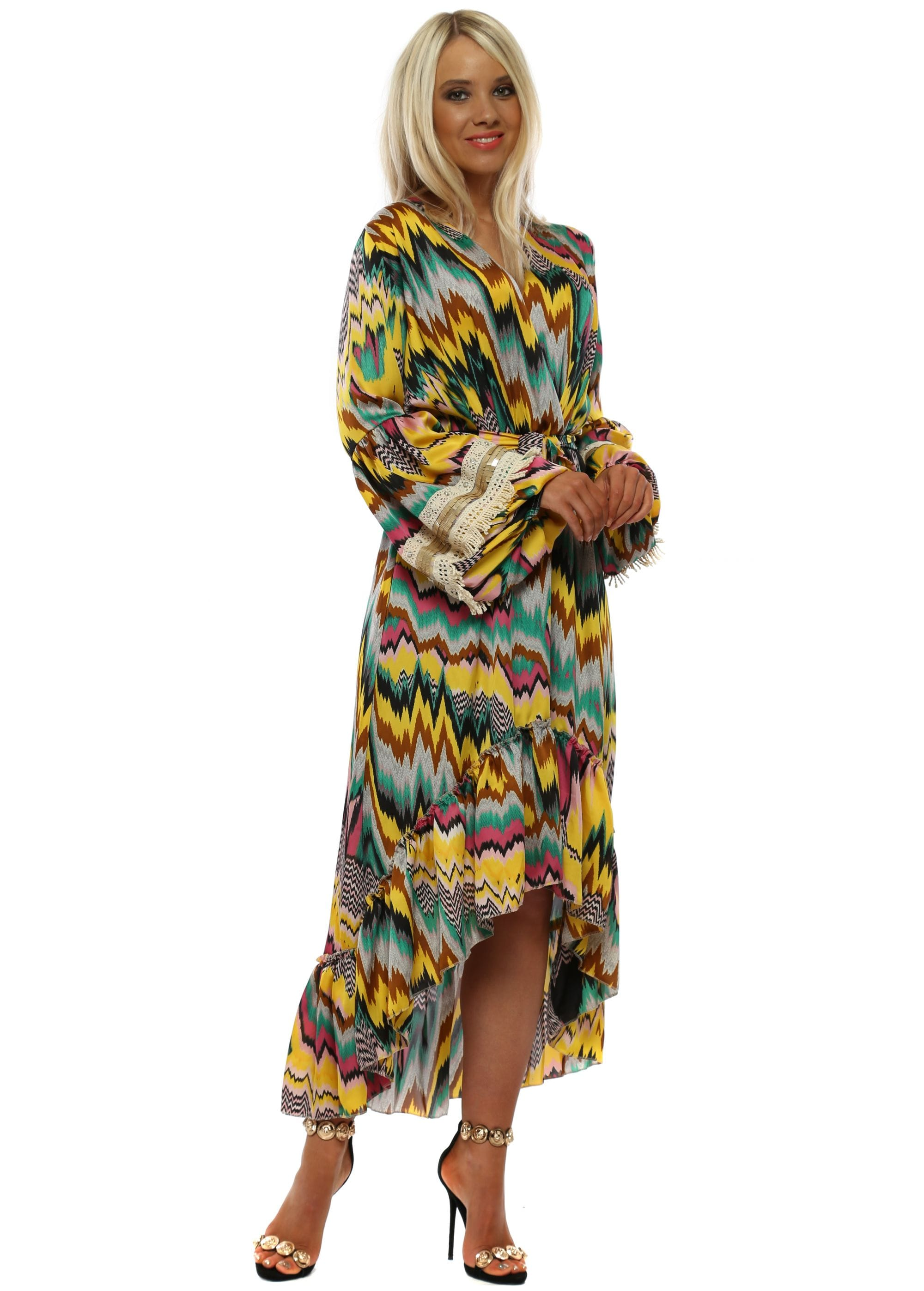78d2c3f124a Pink & Yellow Zig Zag Long Sleeve High Low Dress
