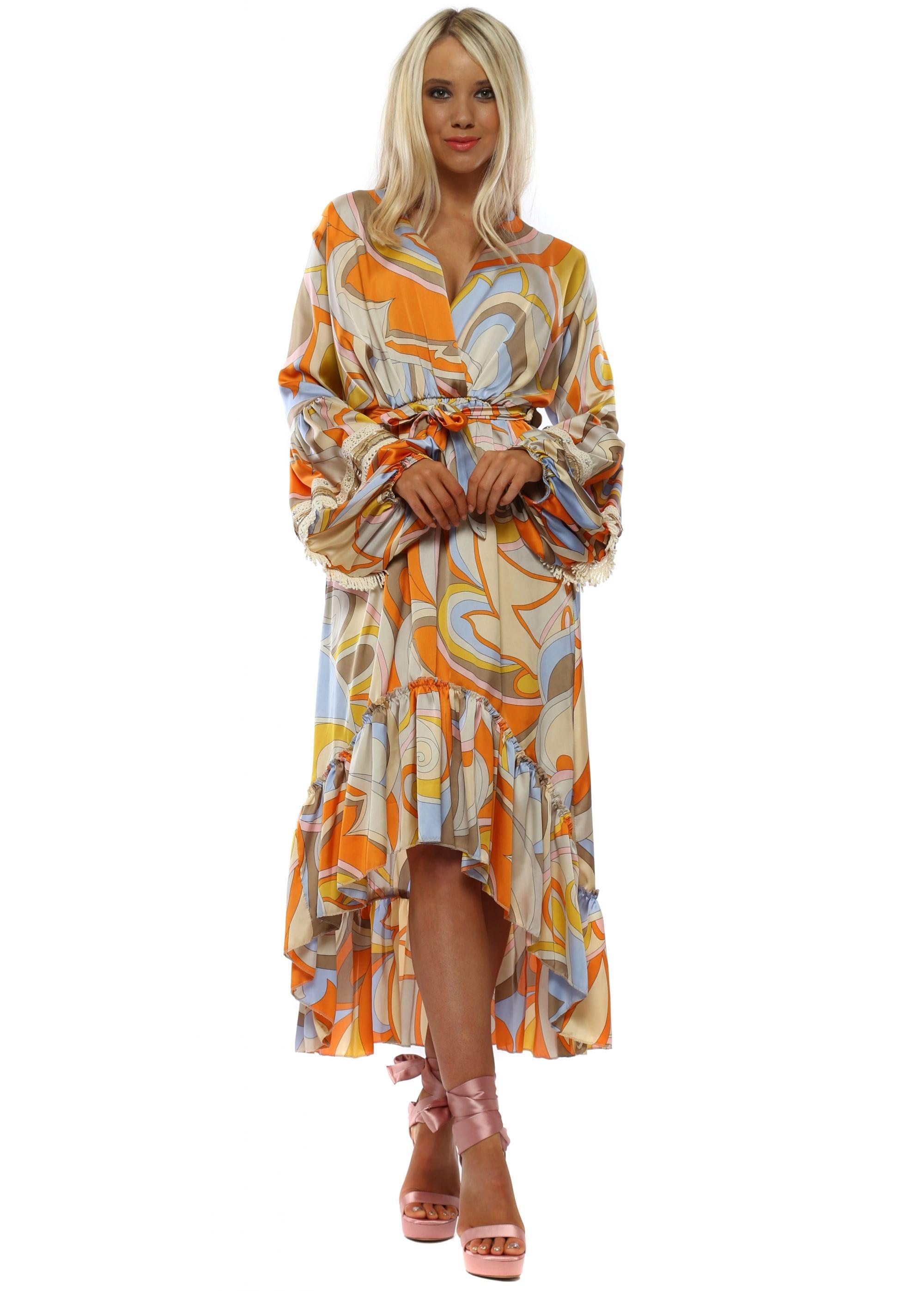 7c8d1dbb20dc5 Orange & Blue Swirl Long Sleeve High Low Dress
