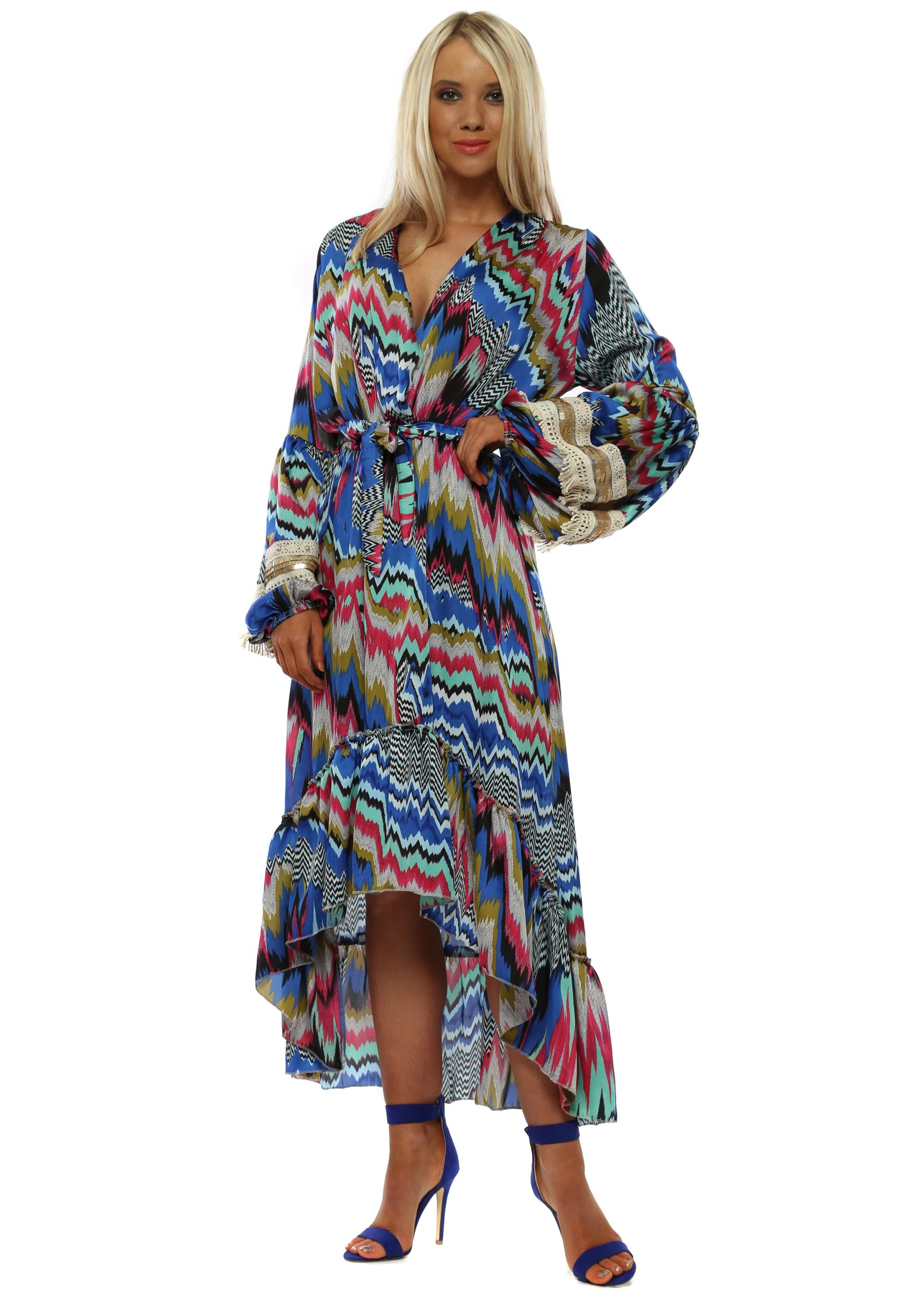 1fe847fc589 Port Boutique Blue & Pink Zig Zag Long Sleeve High Low Dress