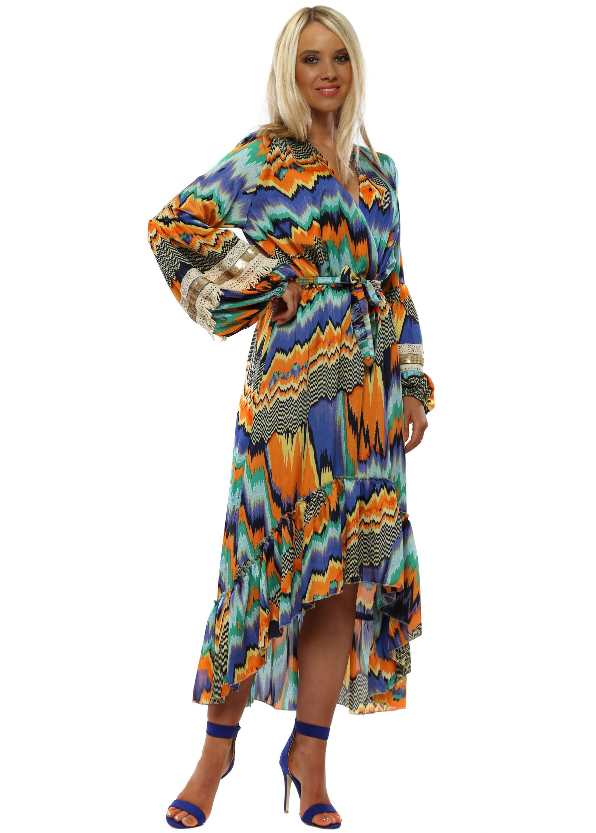 4b33dba2d1f Port Boutique Orange & Blue Zig Zag Long Sleeve High Low Dress