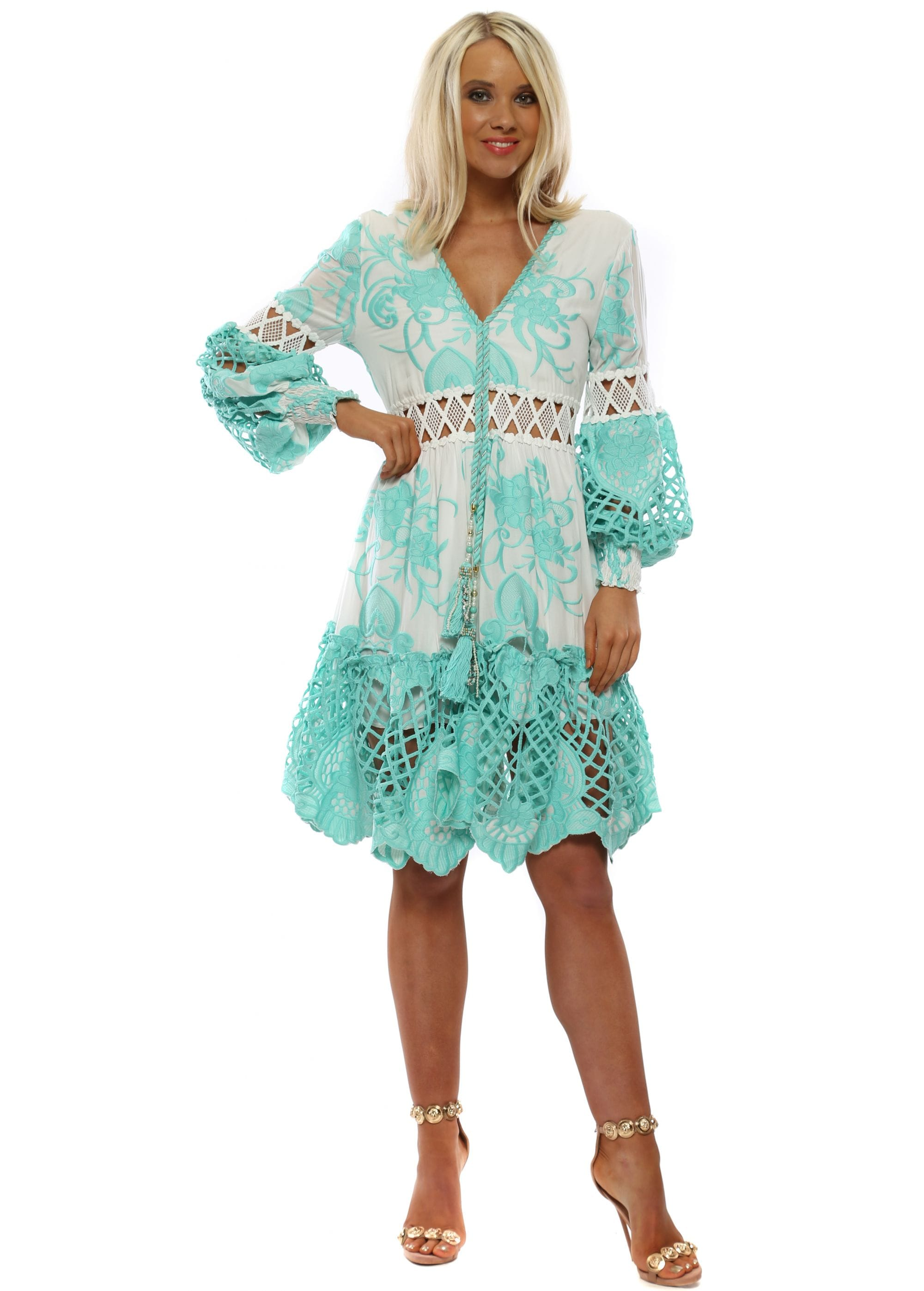 72152b993c7e Turquoise  amp  White Floral Embroidered Midi Dress