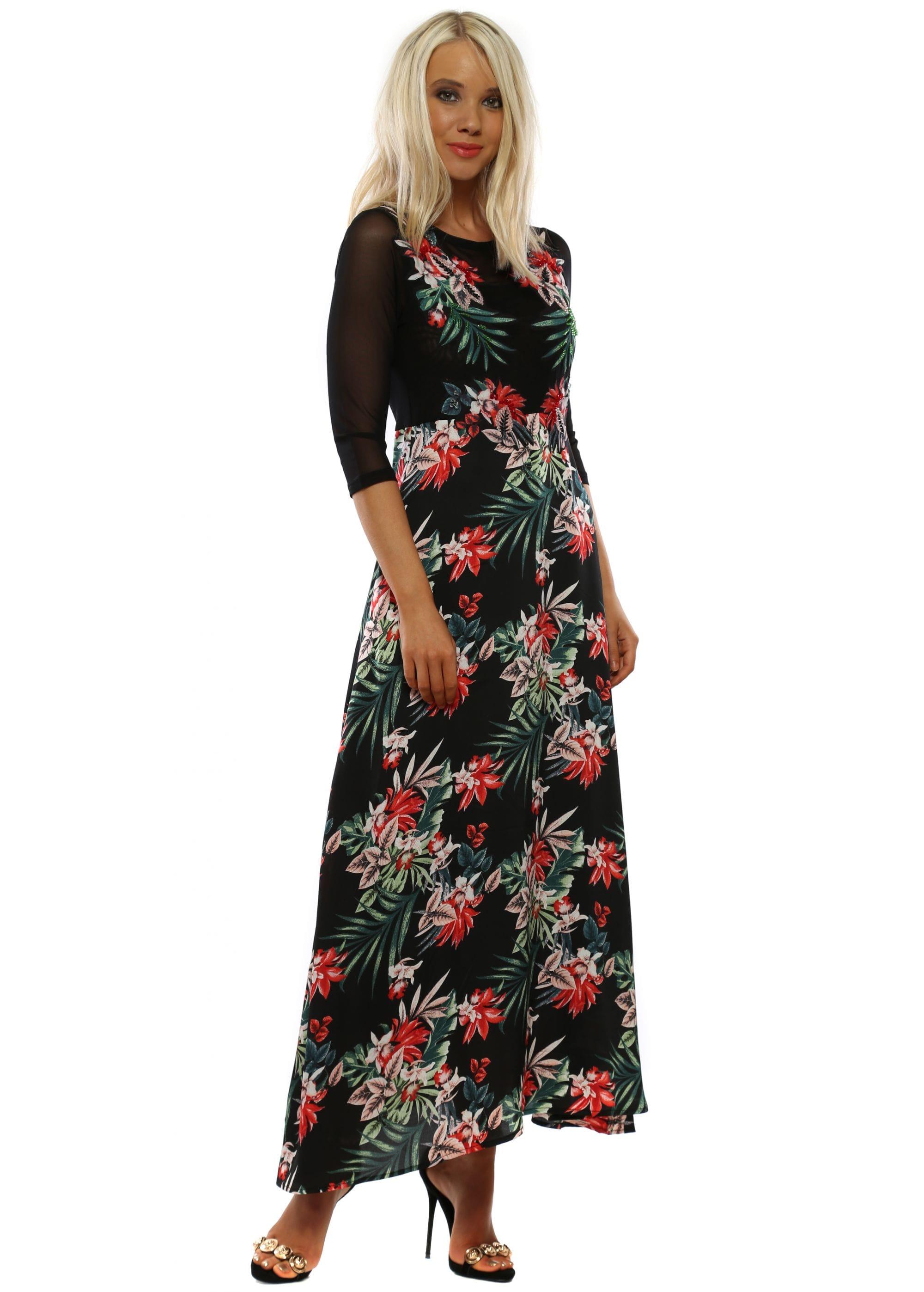 5a9209414af Black  amp  Red Floral Mesh Maxi Dress
