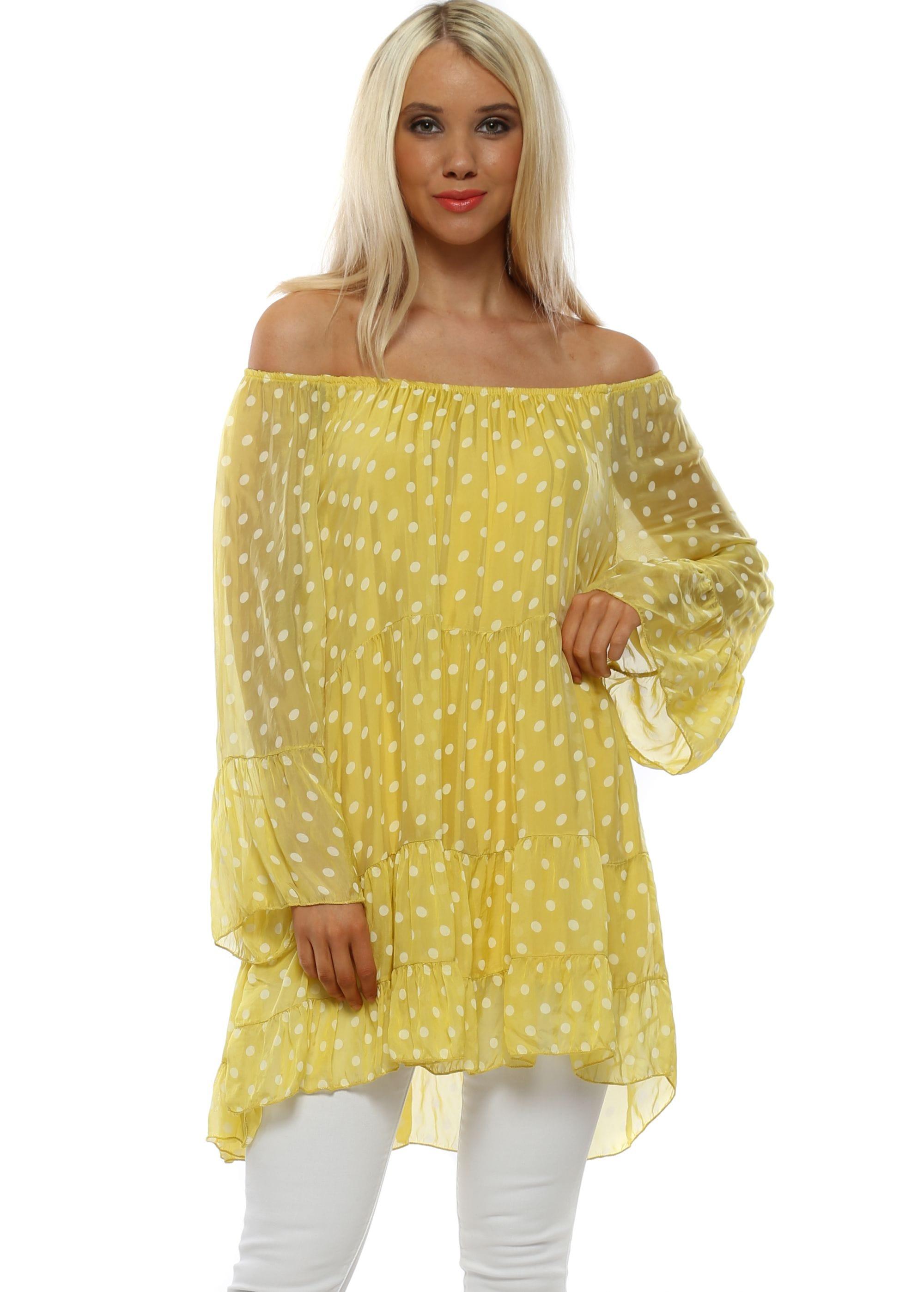 64e4353e7e1 Made In Italy Top   Yellow Spotty Top   Designer Desirables