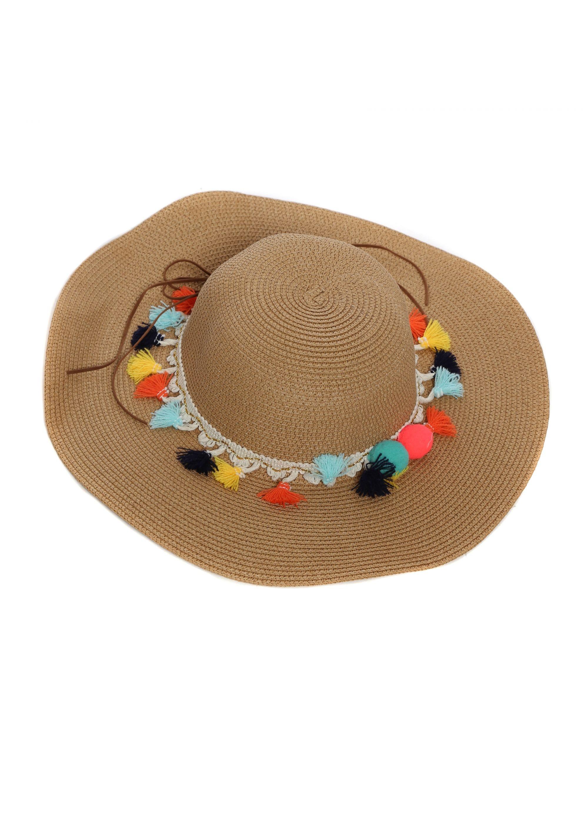 34be3bfe Tan Straw Hat   Pom Pom Beach Hat   Designer Desirables
