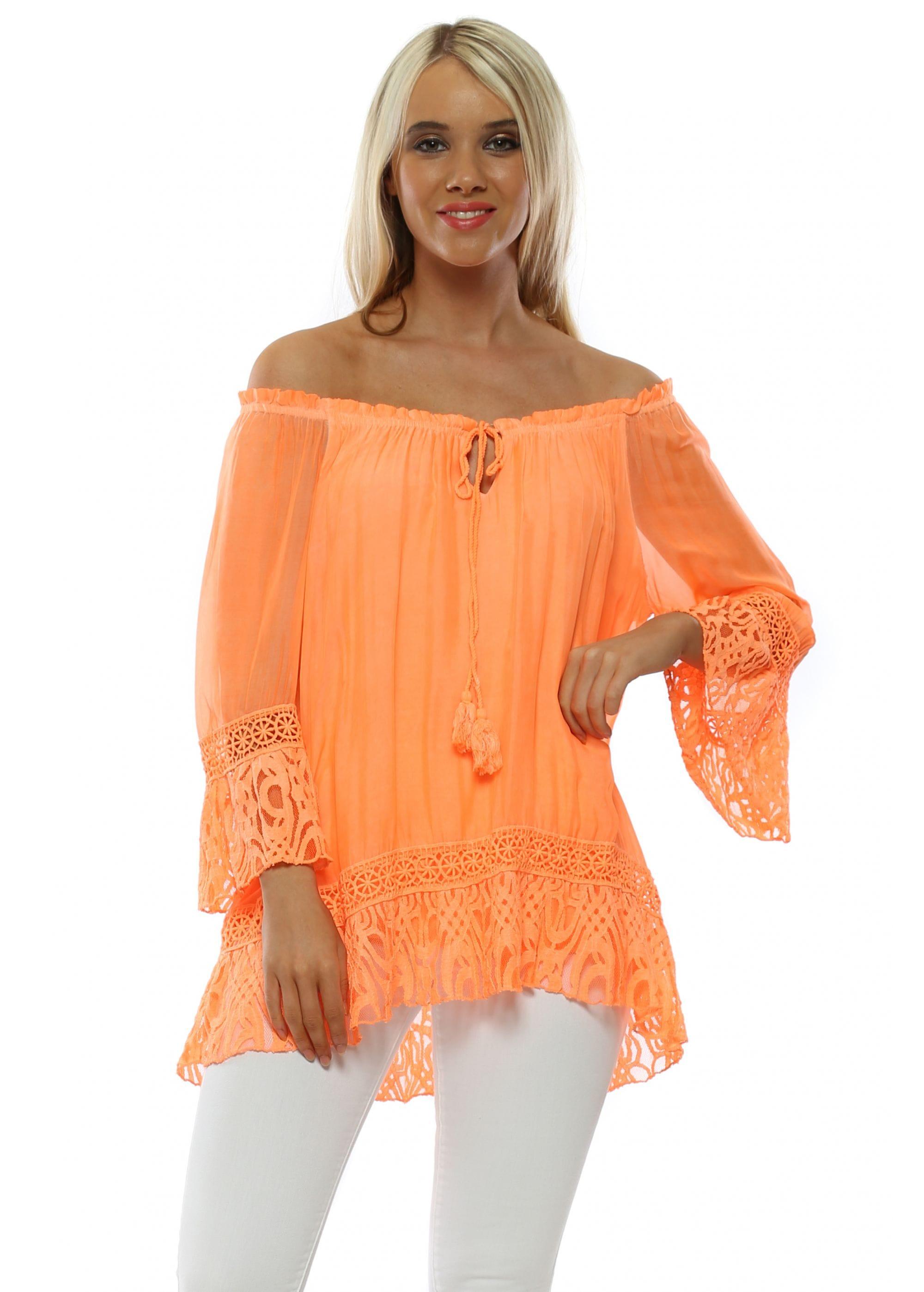 cbb376b57 Made In Italy Top   Orange Silk Bardot Top   Designer Desirables
