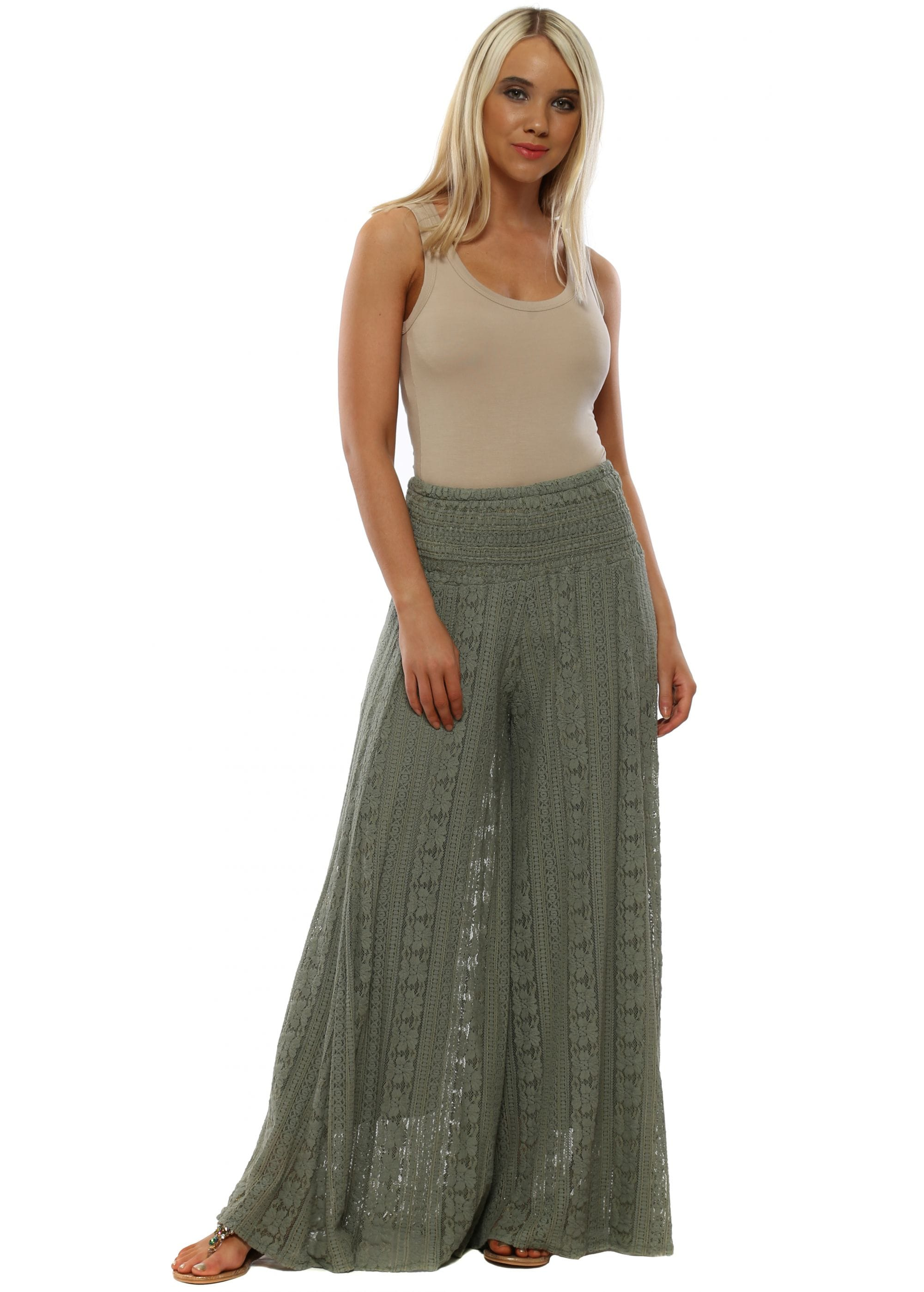 d873fc20b1 Made in Italy | Green Lace Trousers | Palazzo Pants | Designer ...