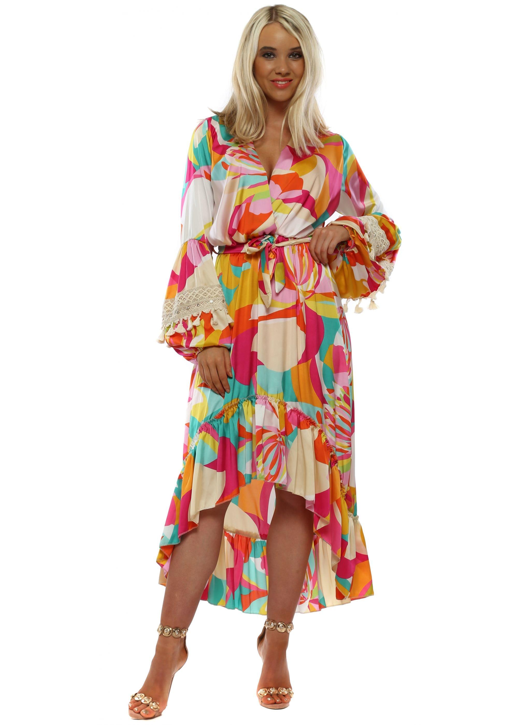 4f0e8b2c97a1d Port Boutique Kaleidoscope Long Sleeve High Low Dress