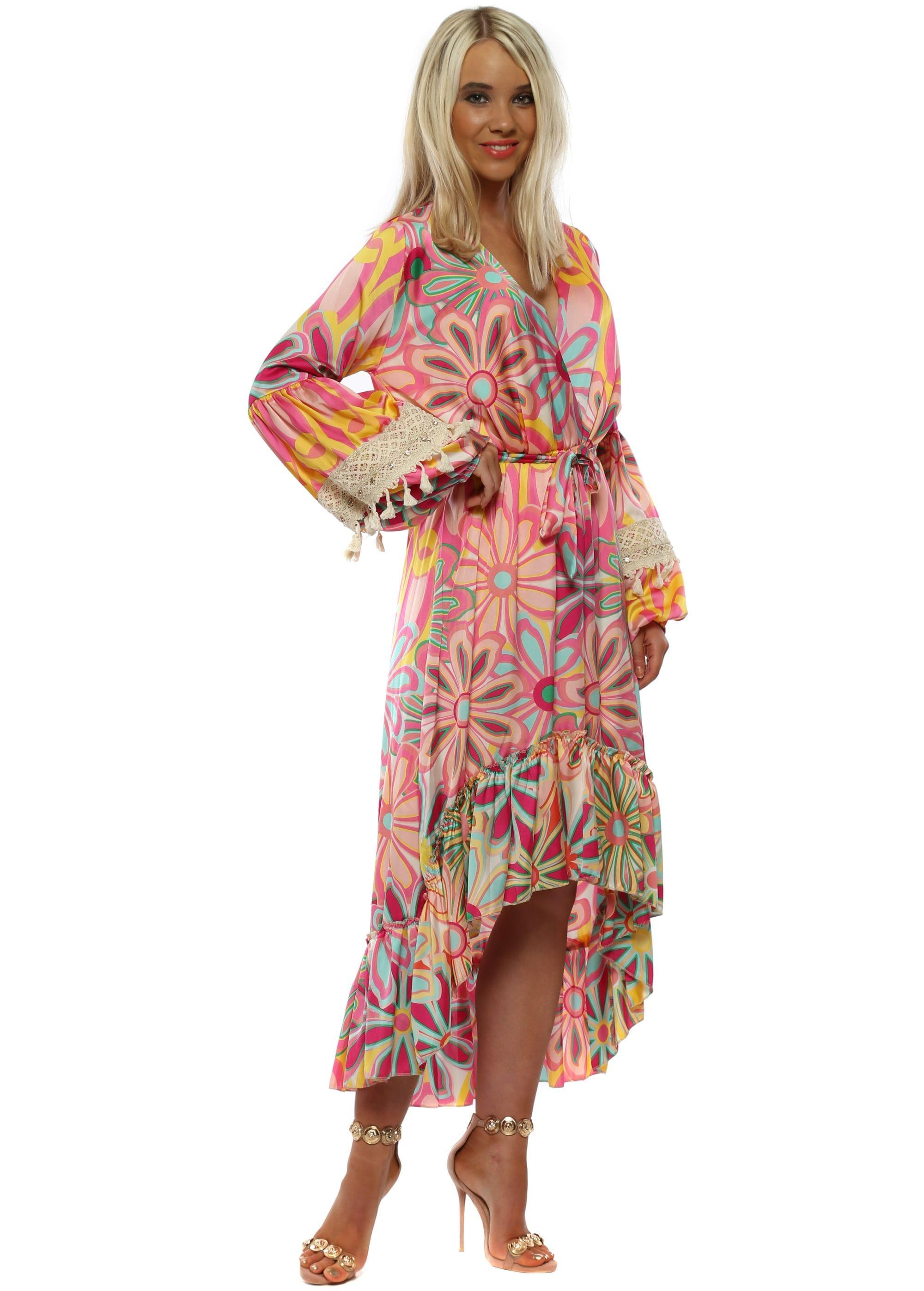 5ef0fb44b8cf3 Pink Floral Long Sleeve High Low Dress