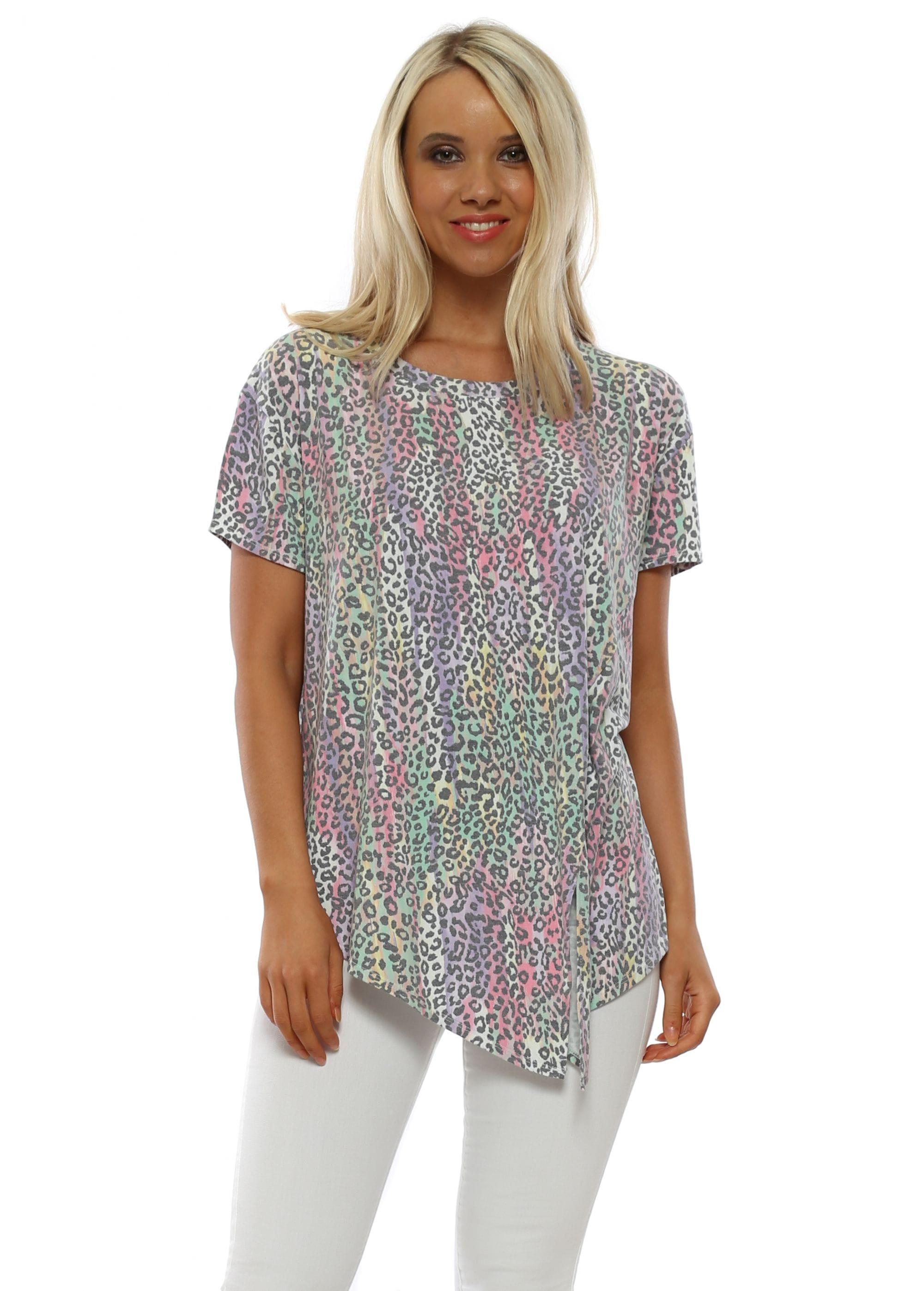 e9db8a52223 Pia Daisy White Rainbow Leopard Tie T-Shirt