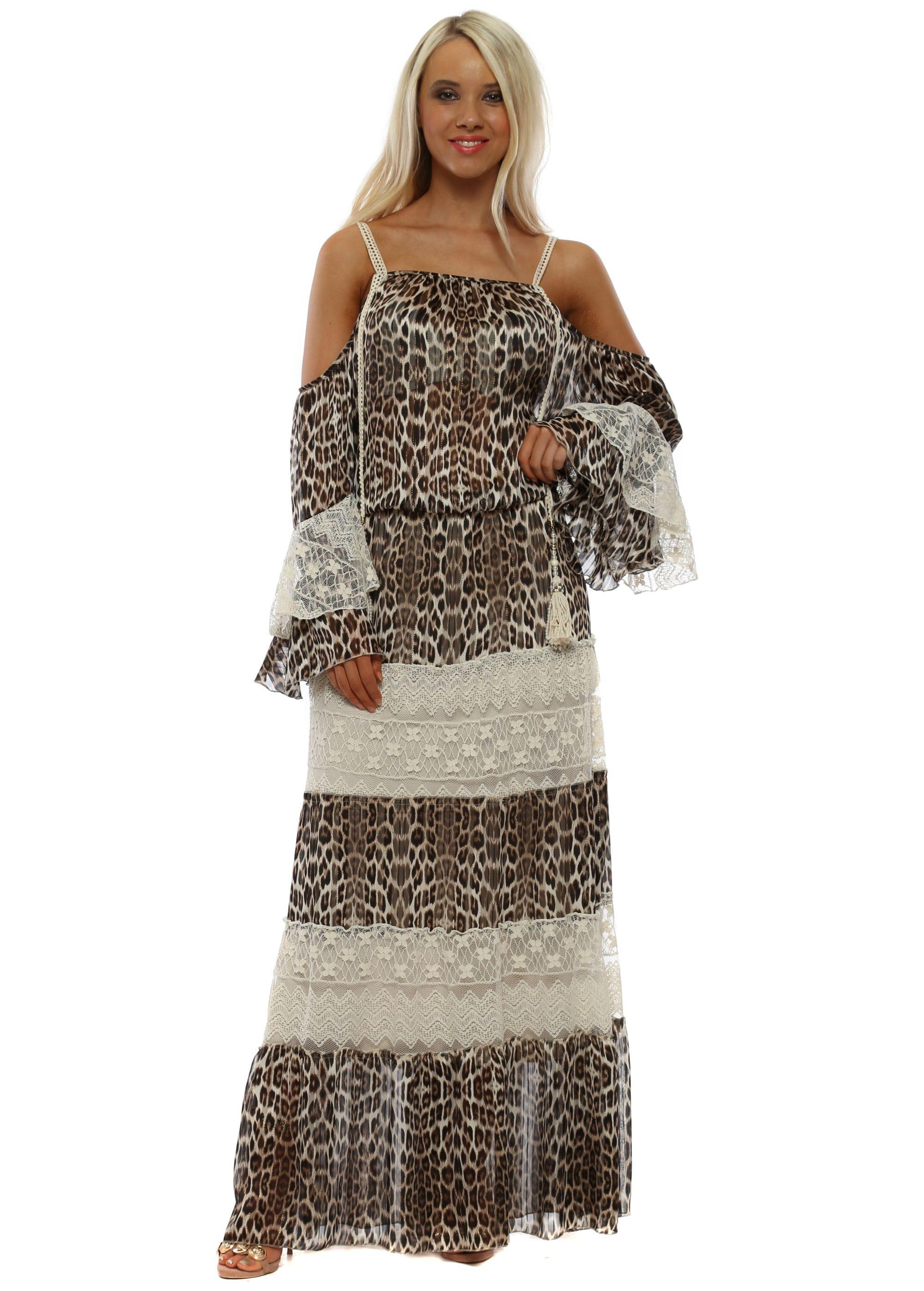 3a1d55c760c Leopard Print Tiered Lace Cold Shoulder Maxi Dress