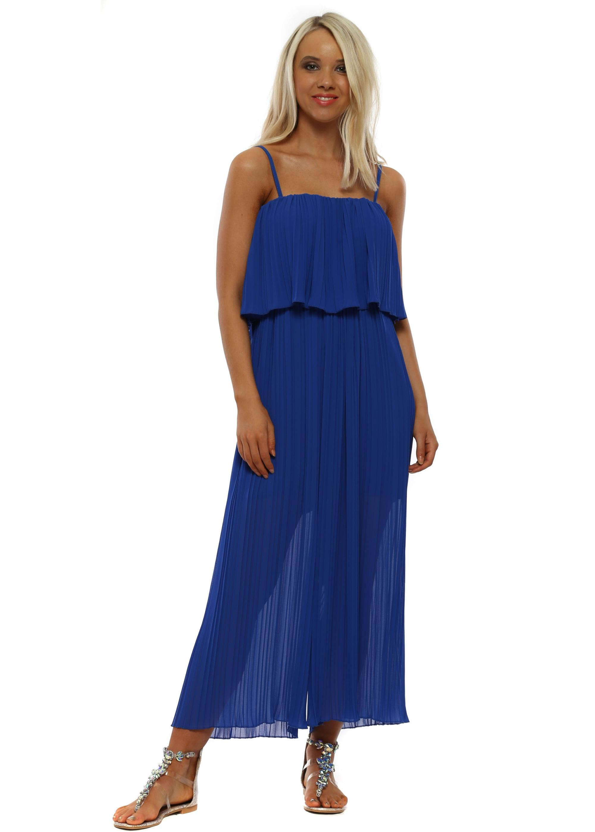 competitive price hot-selling clearance limited guantity Cobalt Blue Pleated Jumpsuit