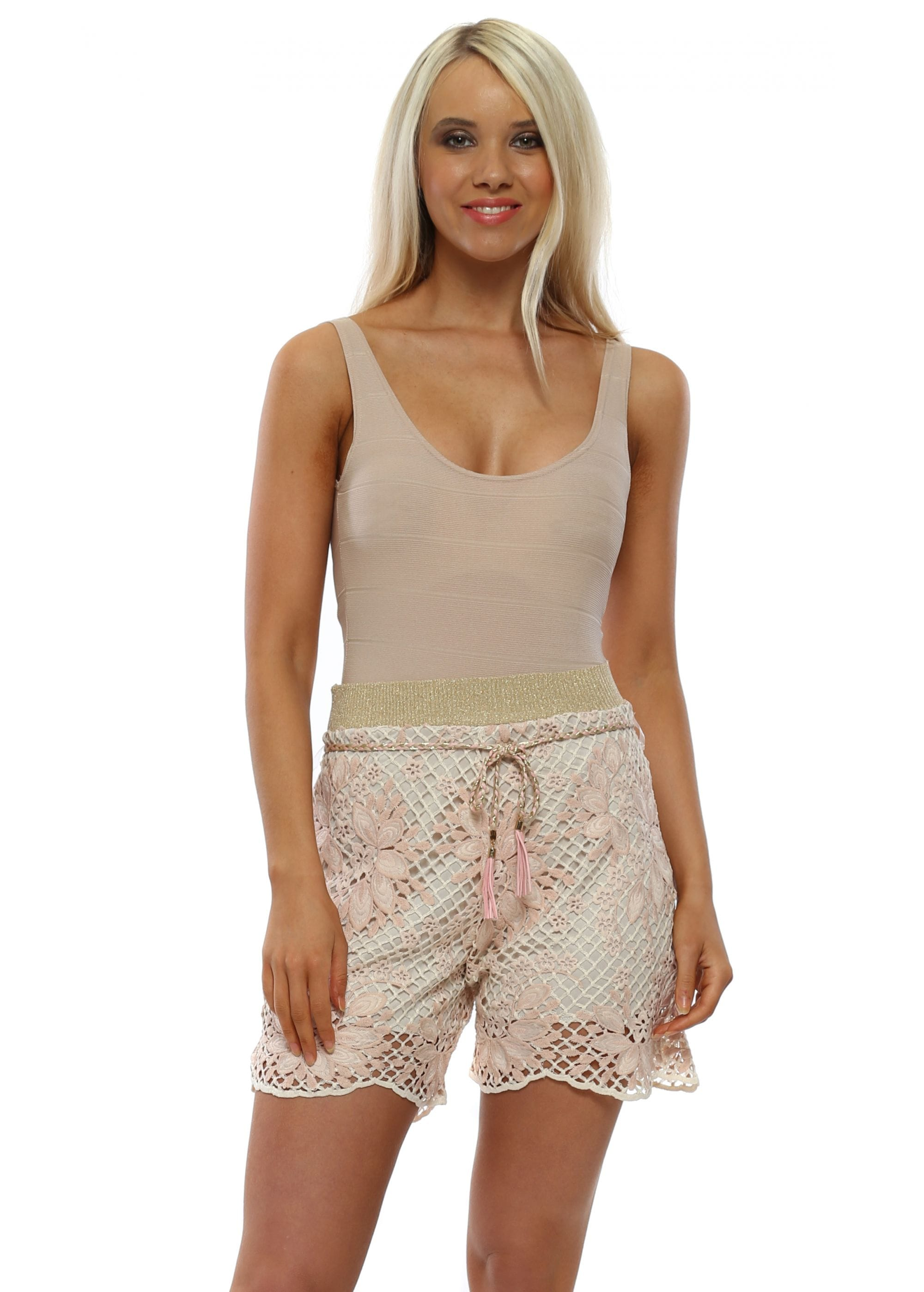 My Story Shorts Pink Lace Shorts Designer Desirabes