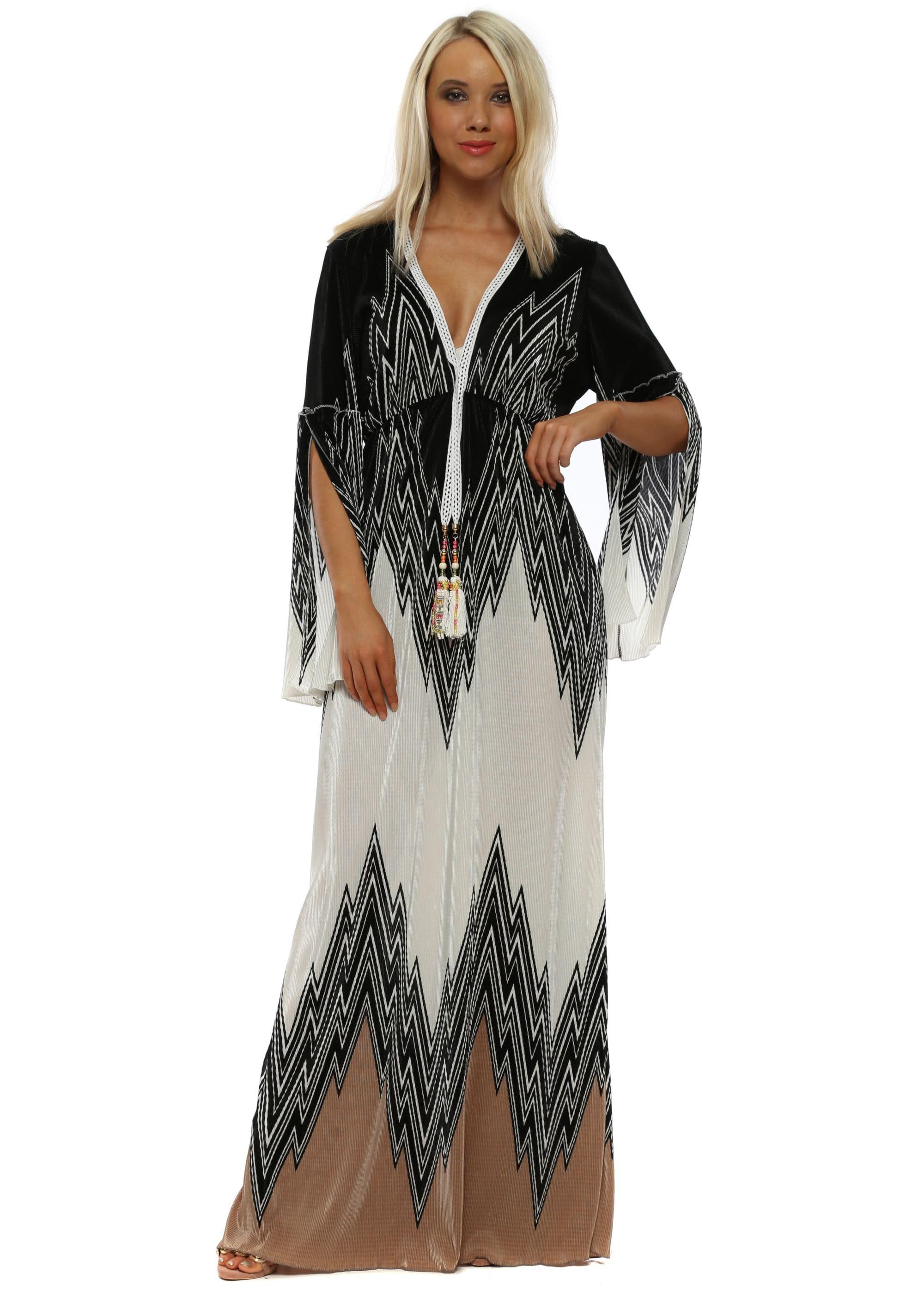 01db65646198a4 Mocha  amp  Ivory Zig Zag Pleated Maxi Dress