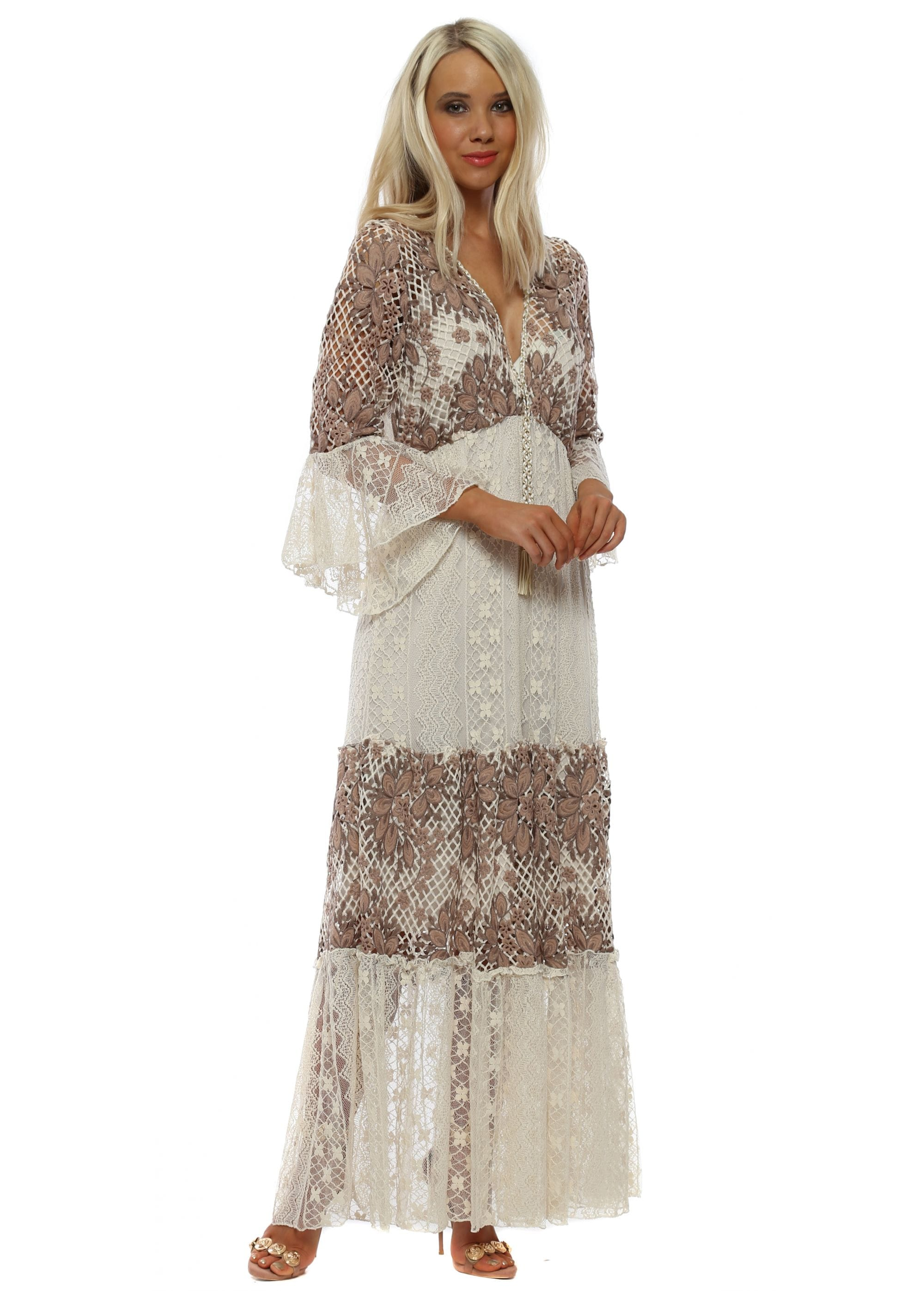 f2cddc6ca4cdde Mocha  amp  Beige Tiered Lace Maxi Dress