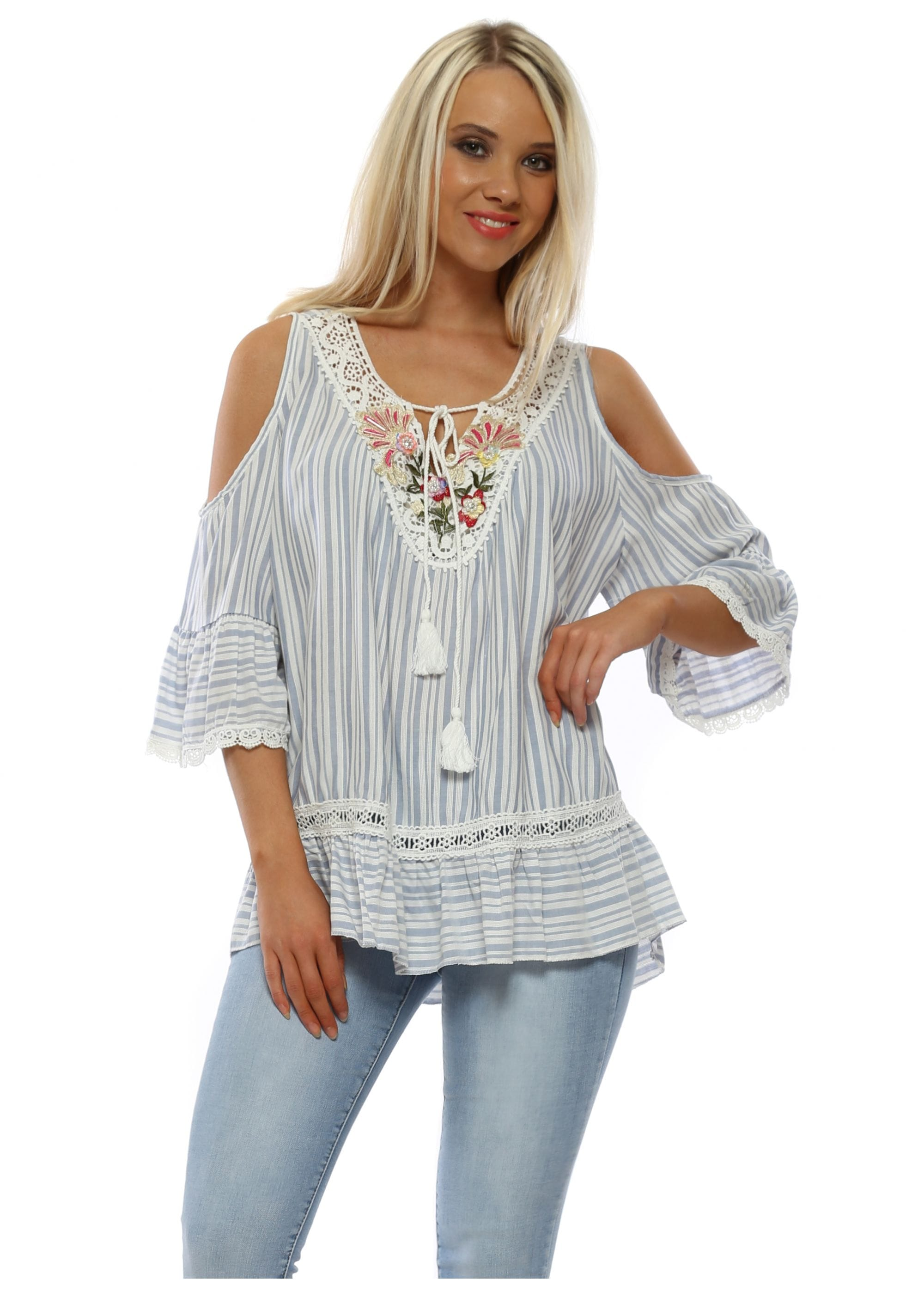 788a85ac40d Pinka Blue Striped Top | Cold Shoulder Tops | Designer Desirables