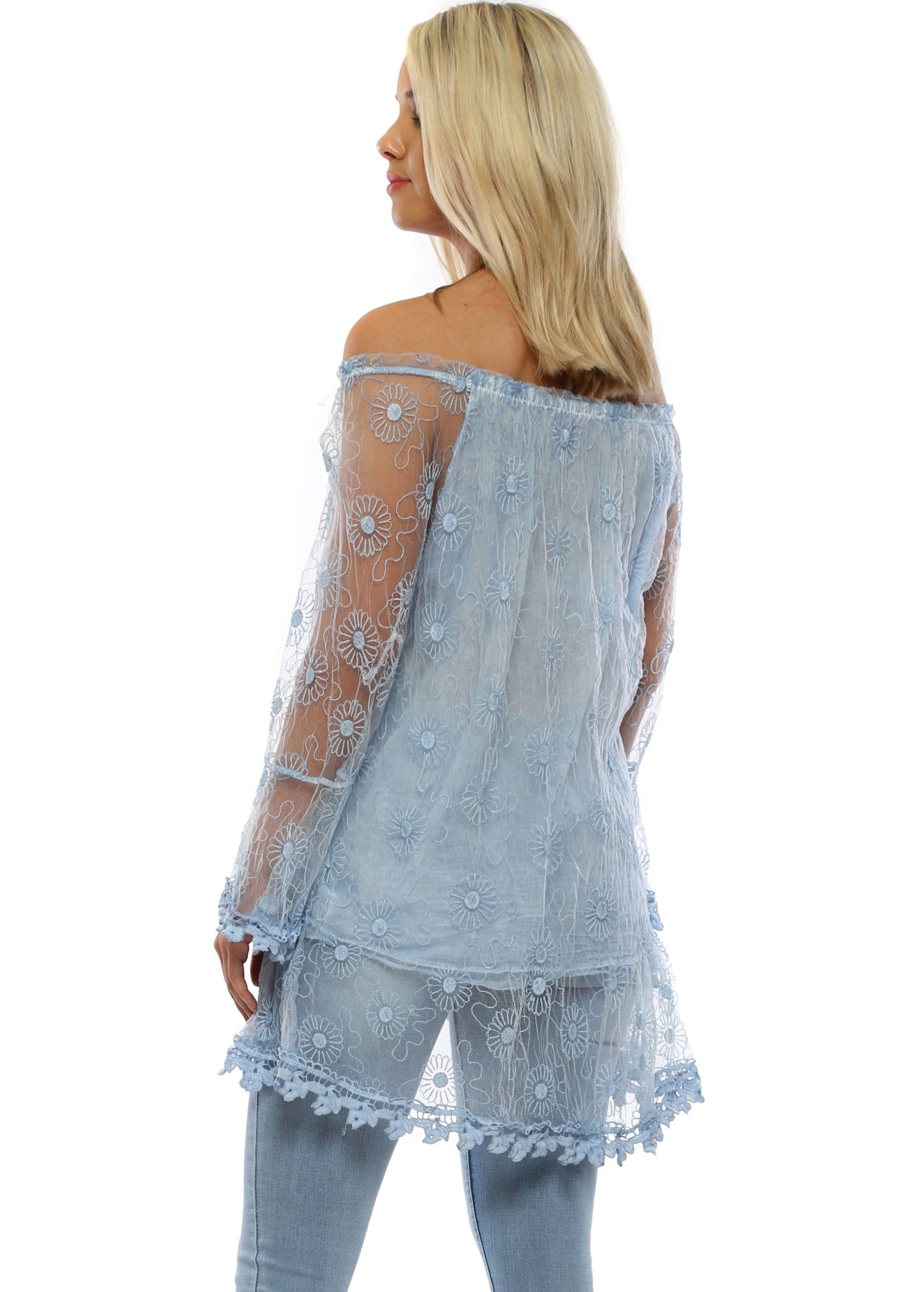 86b921e4149 Made In Italy Top | Blue Bardot Top | Designer Desirables