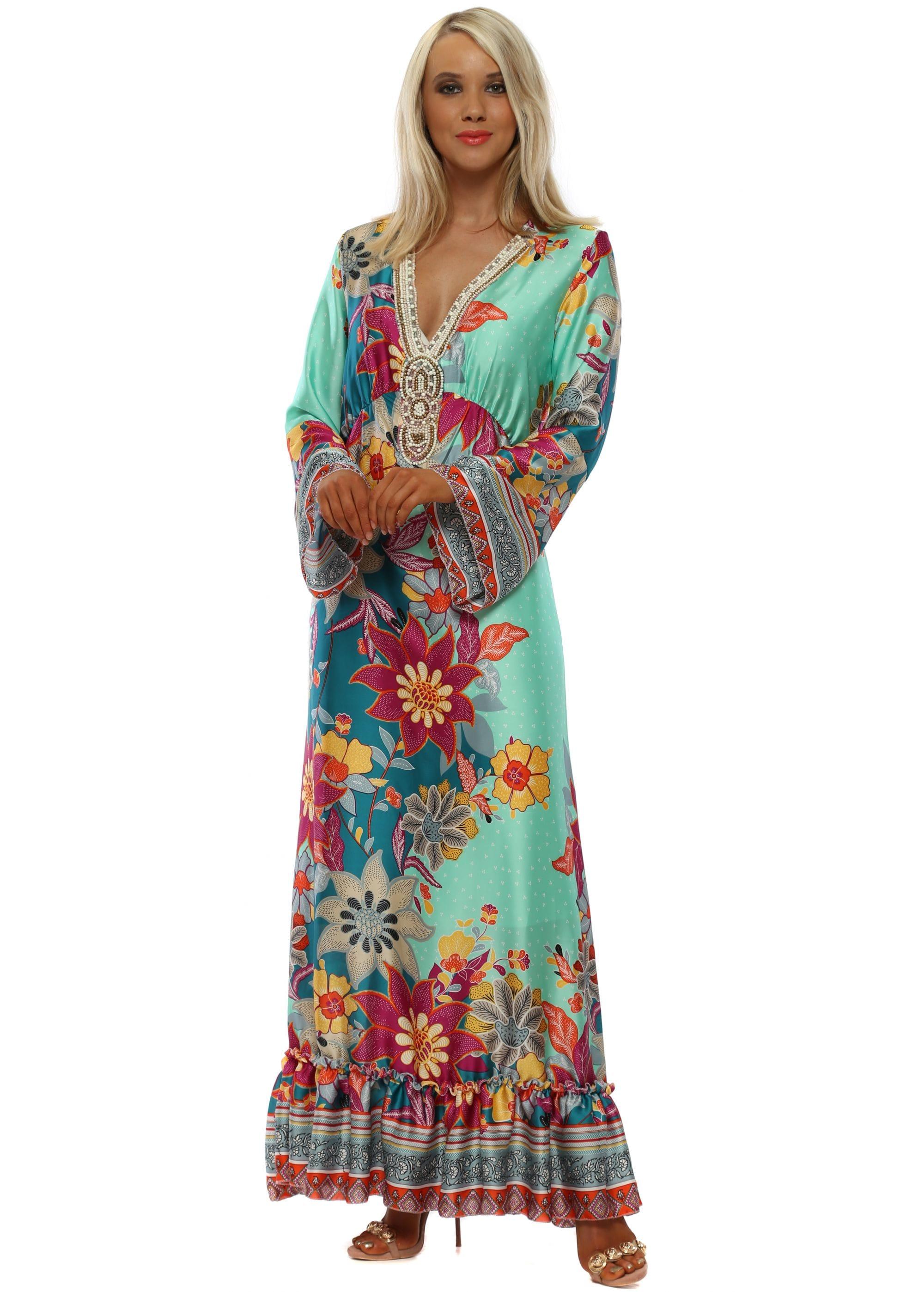 4868ff666c3 Port Boutique Dress | Green Floral Maxi Dress | Designer Desirables