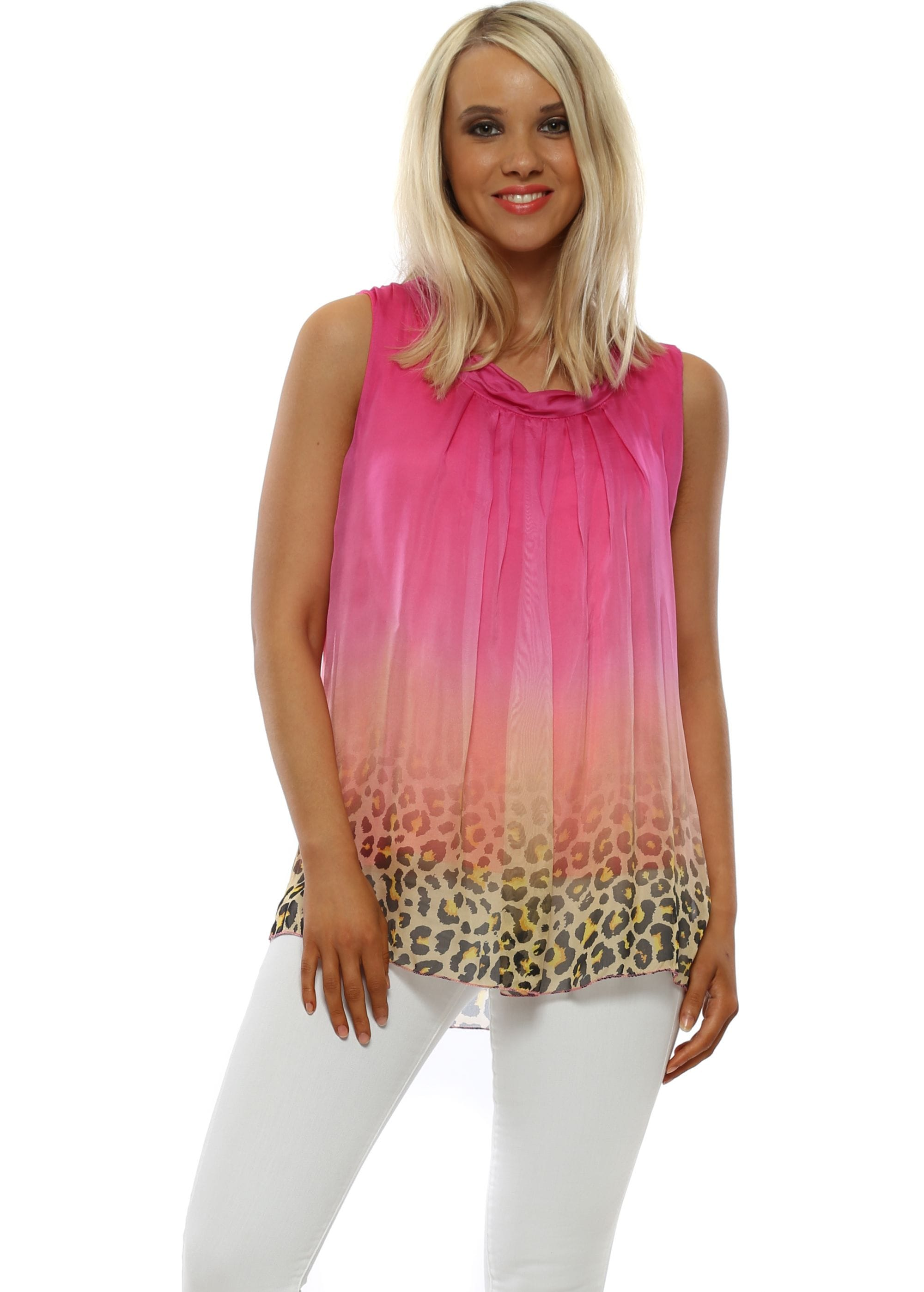 49e8a39db4a Fucshia Ombre Leopard Sleeveless Top